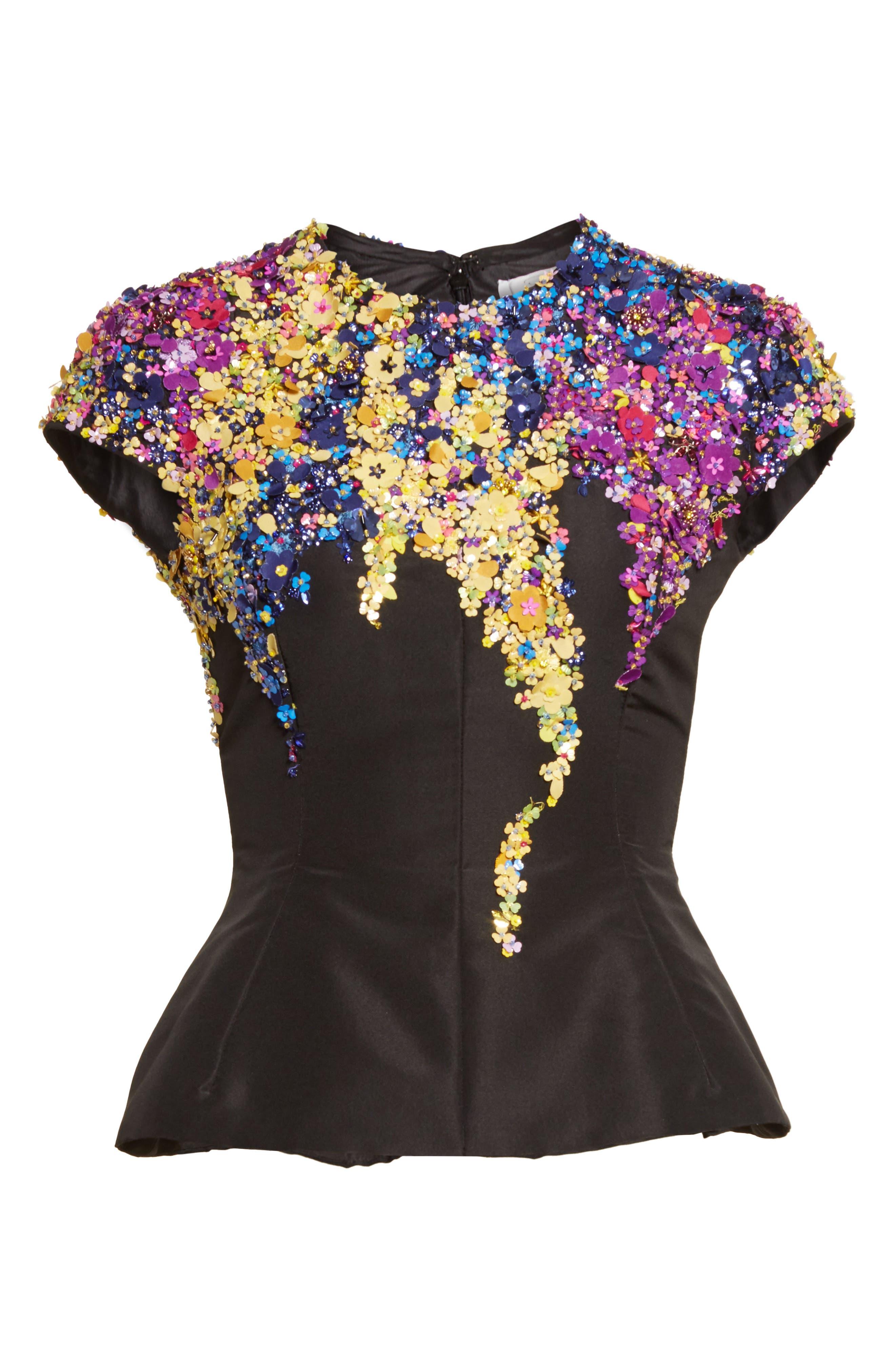 Alternate Image 6  - Oscar de la Renta Tendrils Floral Embroidered Silk Faille Top
