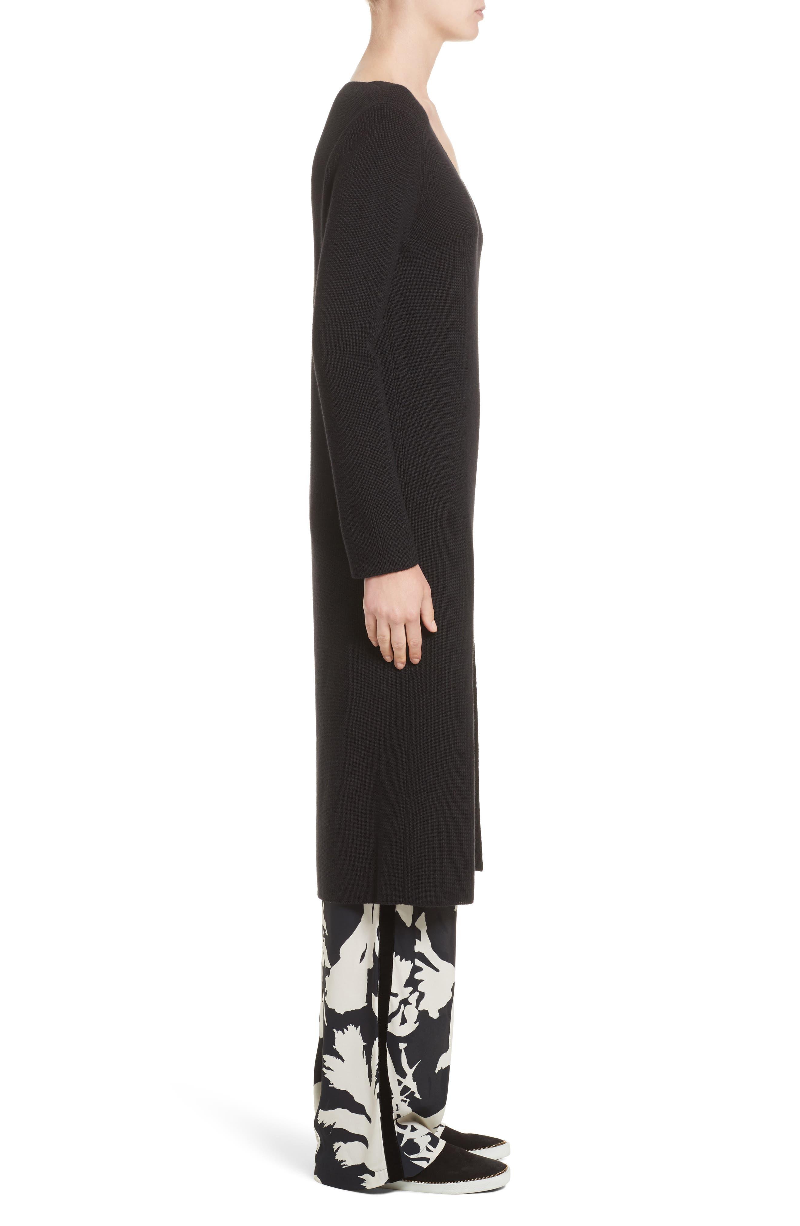 Virgin Wool Front Slit Tunic,                             Alternate thumbnail 3, color,                             Black