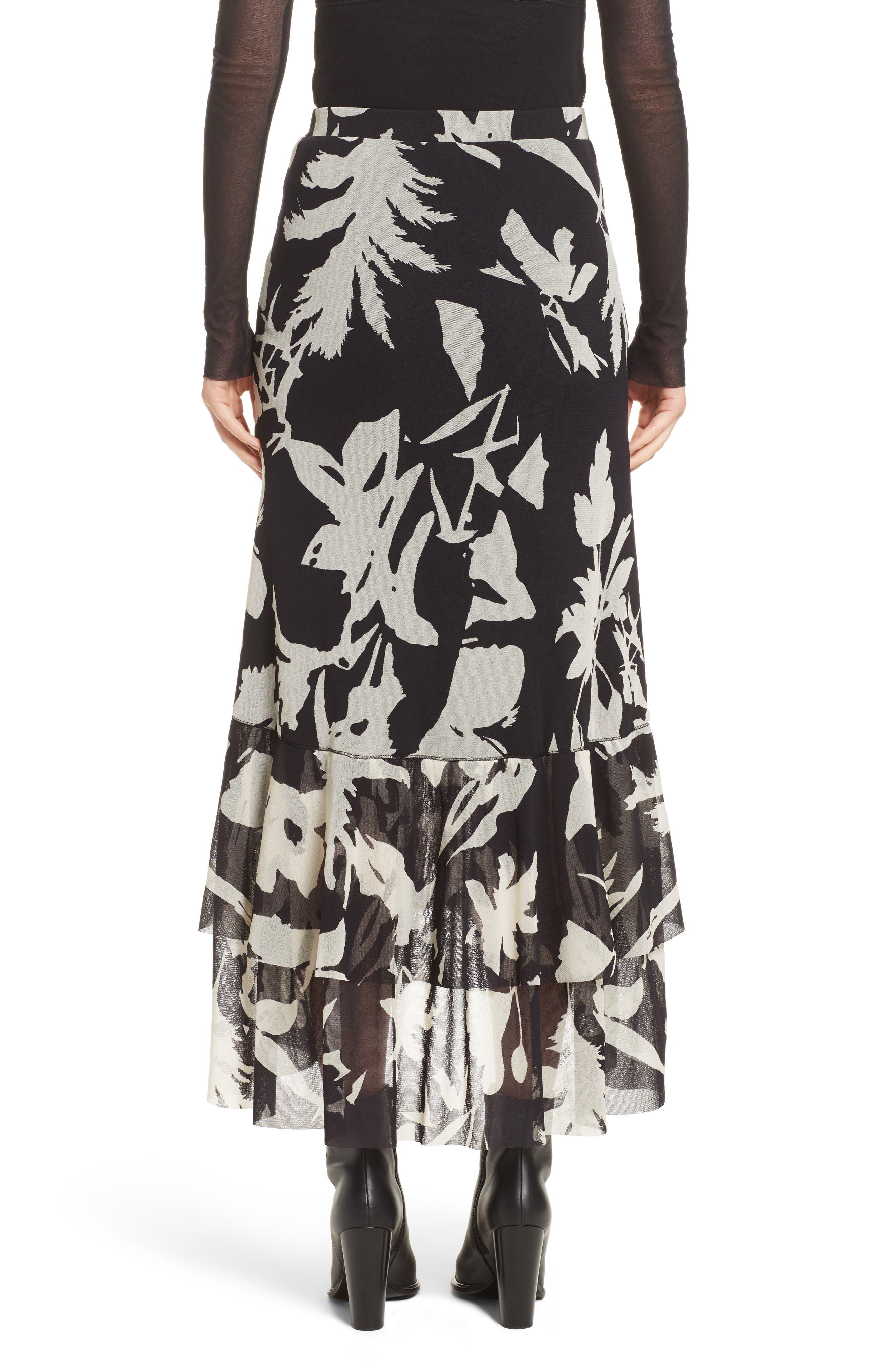 Floral Print Tulle Ruffle Skirt,                             Alternate thumbnail 2, color,                             Black/ White