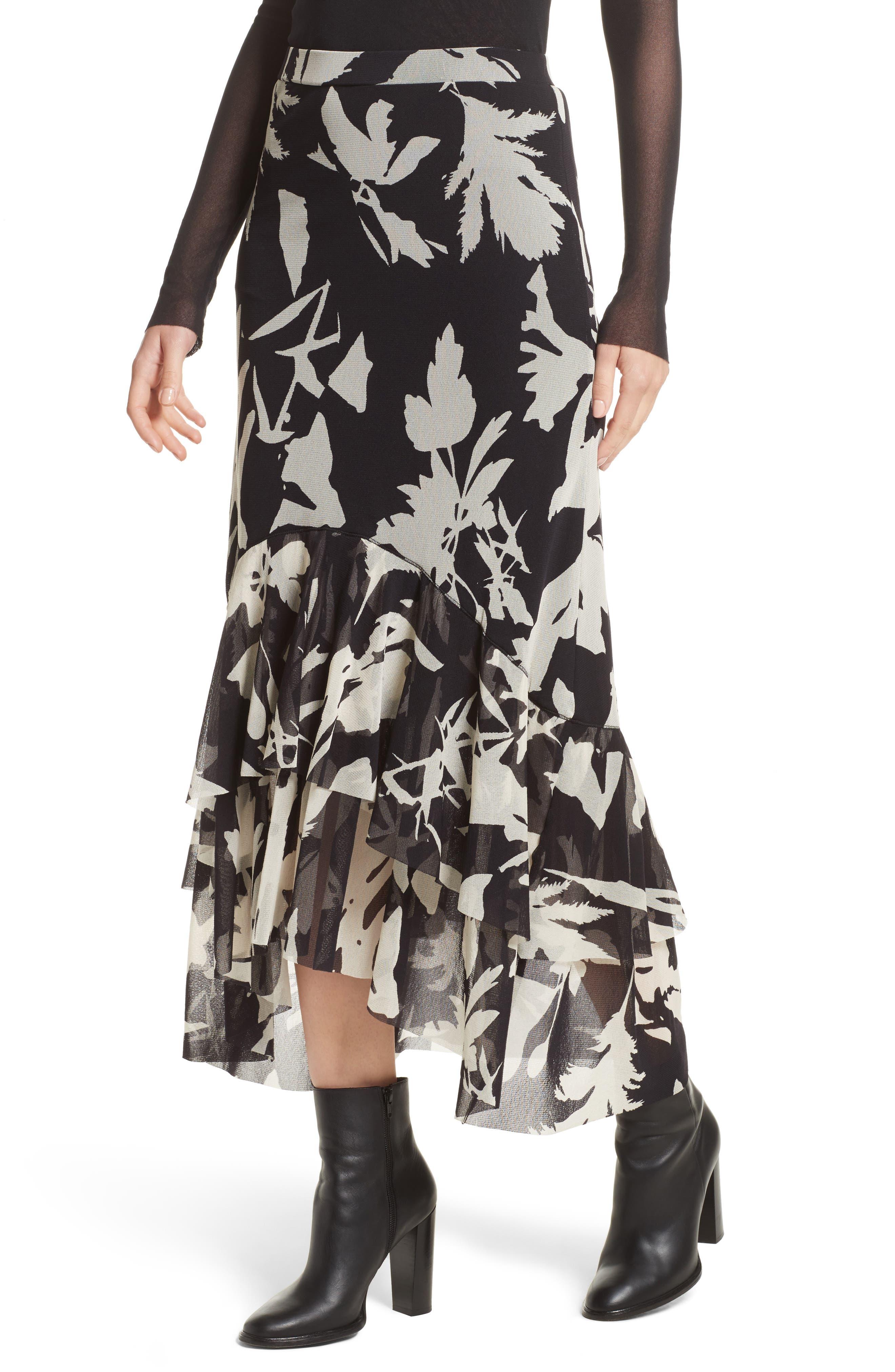 Floral Print Tulle Ruffle Skirt,                             Alternate thumbnail 6, color,                             Black/ White