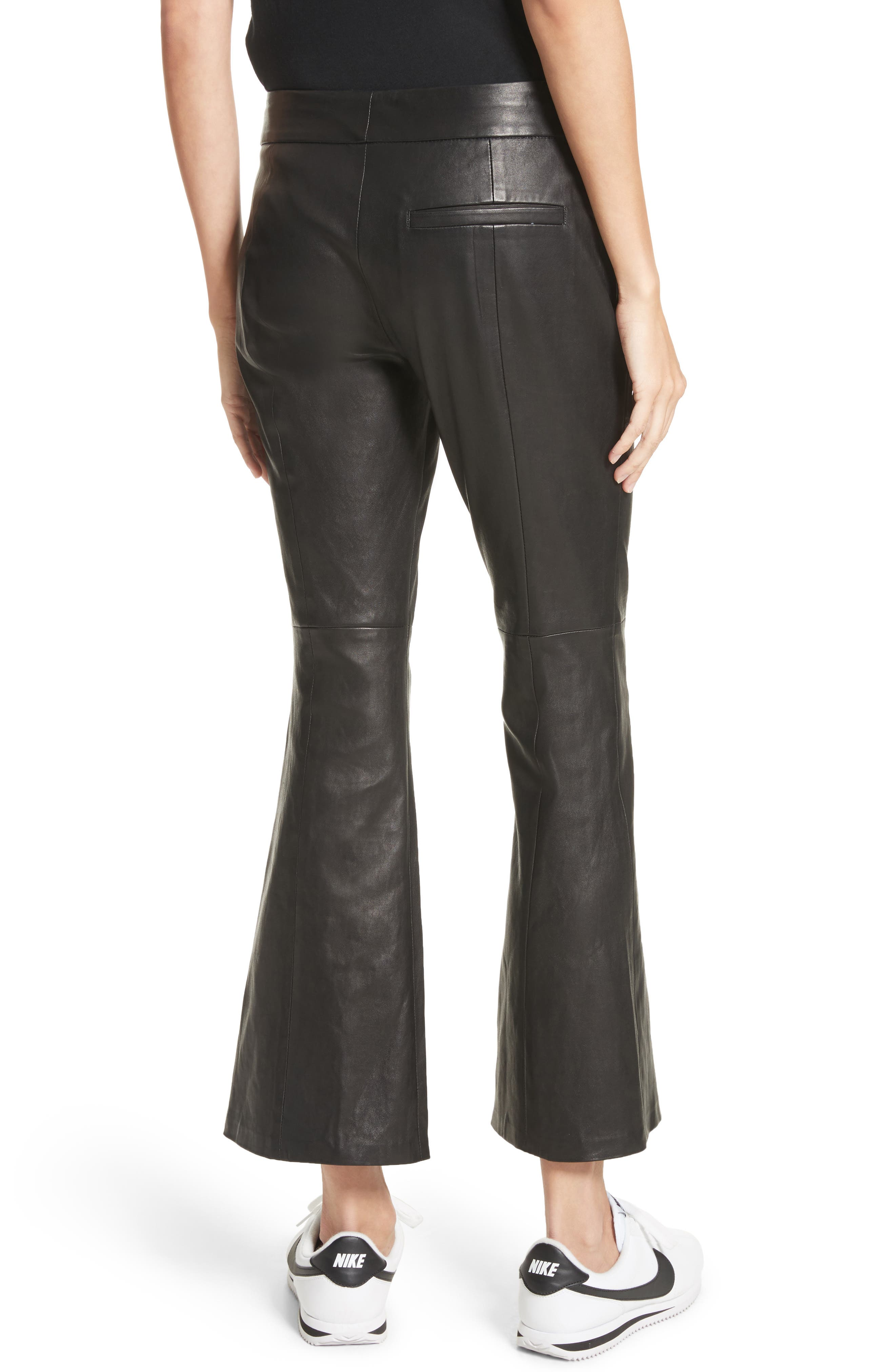 Alternate Image 3  - A.L.C. Evan Lambskin Leather Flare Crop Pants