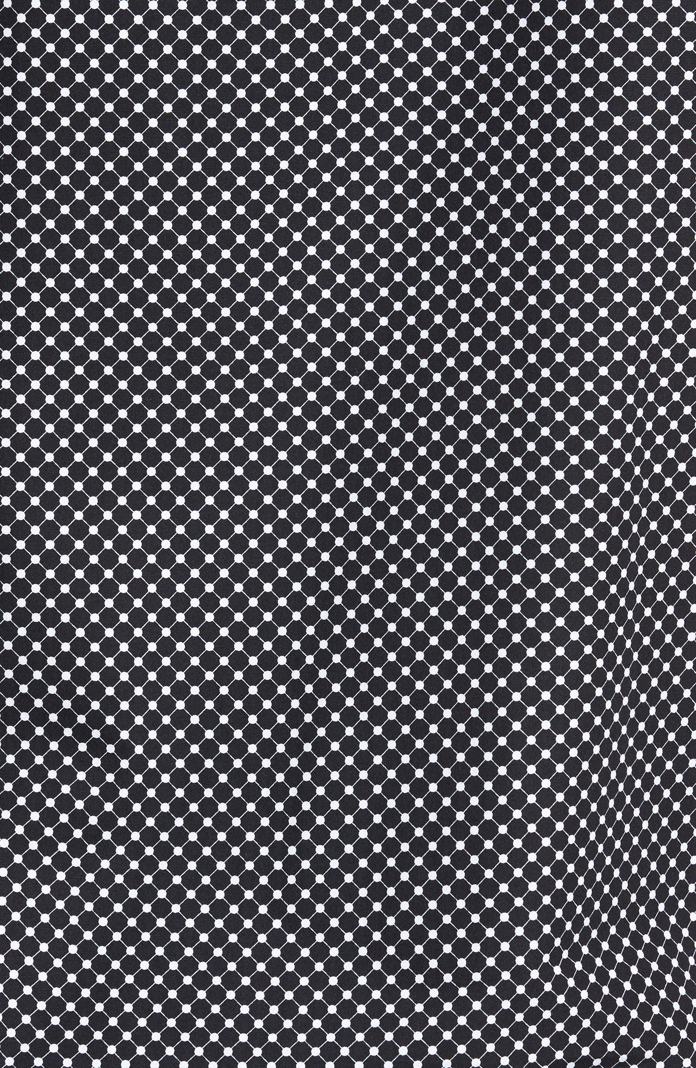 Shaped Fit Spot Grid Sport Shirt,                             Alternate thumbnail 5, color,                             Black