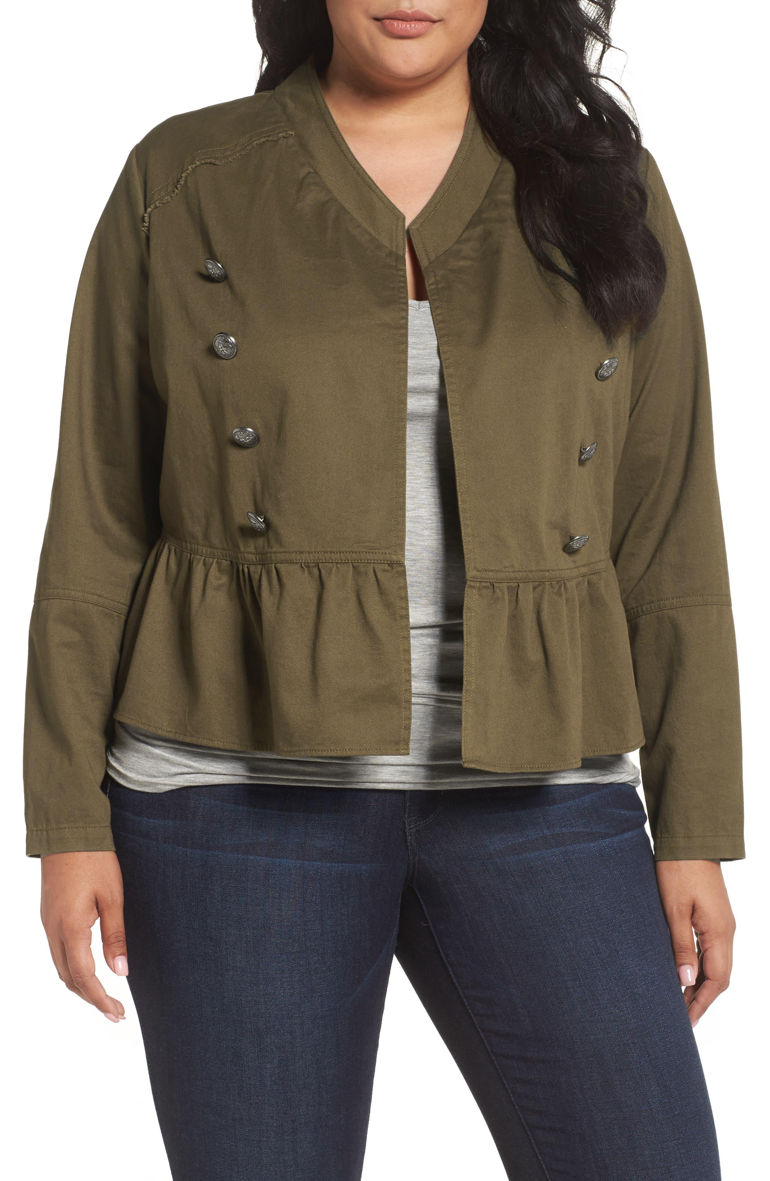 Sejour Military Peplum Jacket (Plus Size)