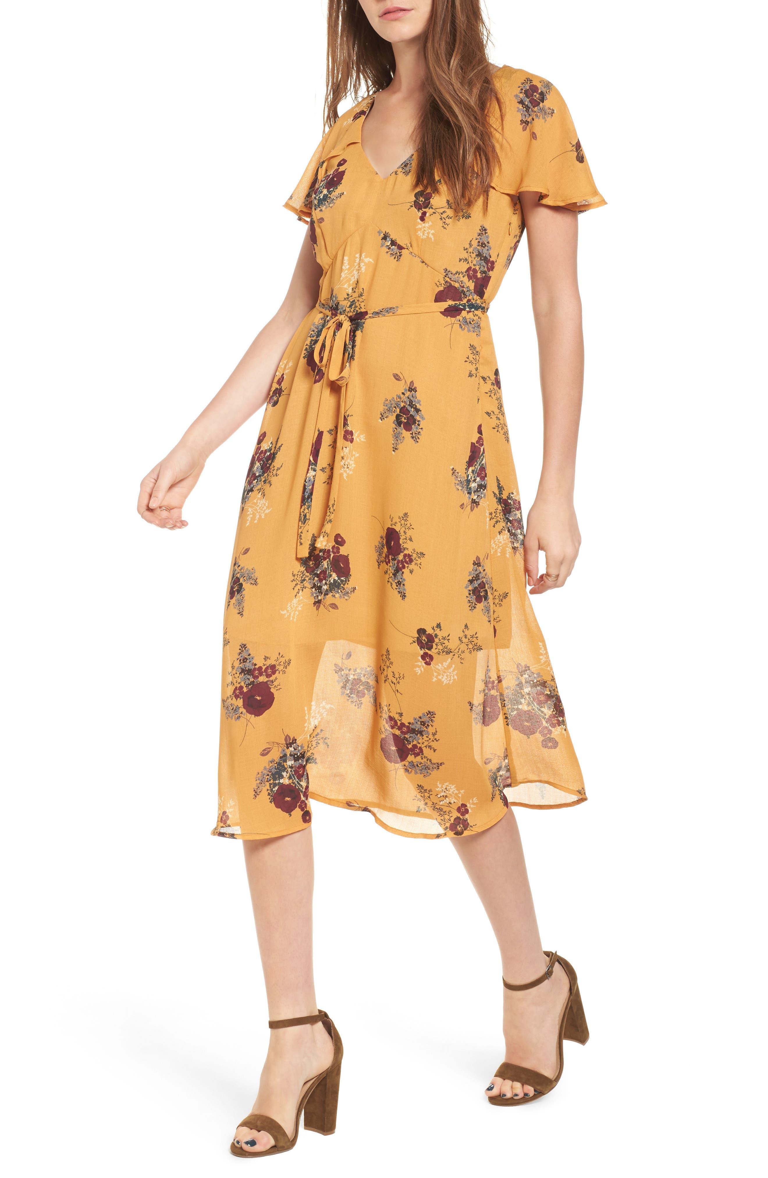 Leith Floral Belted Flutter Sleeve Dress