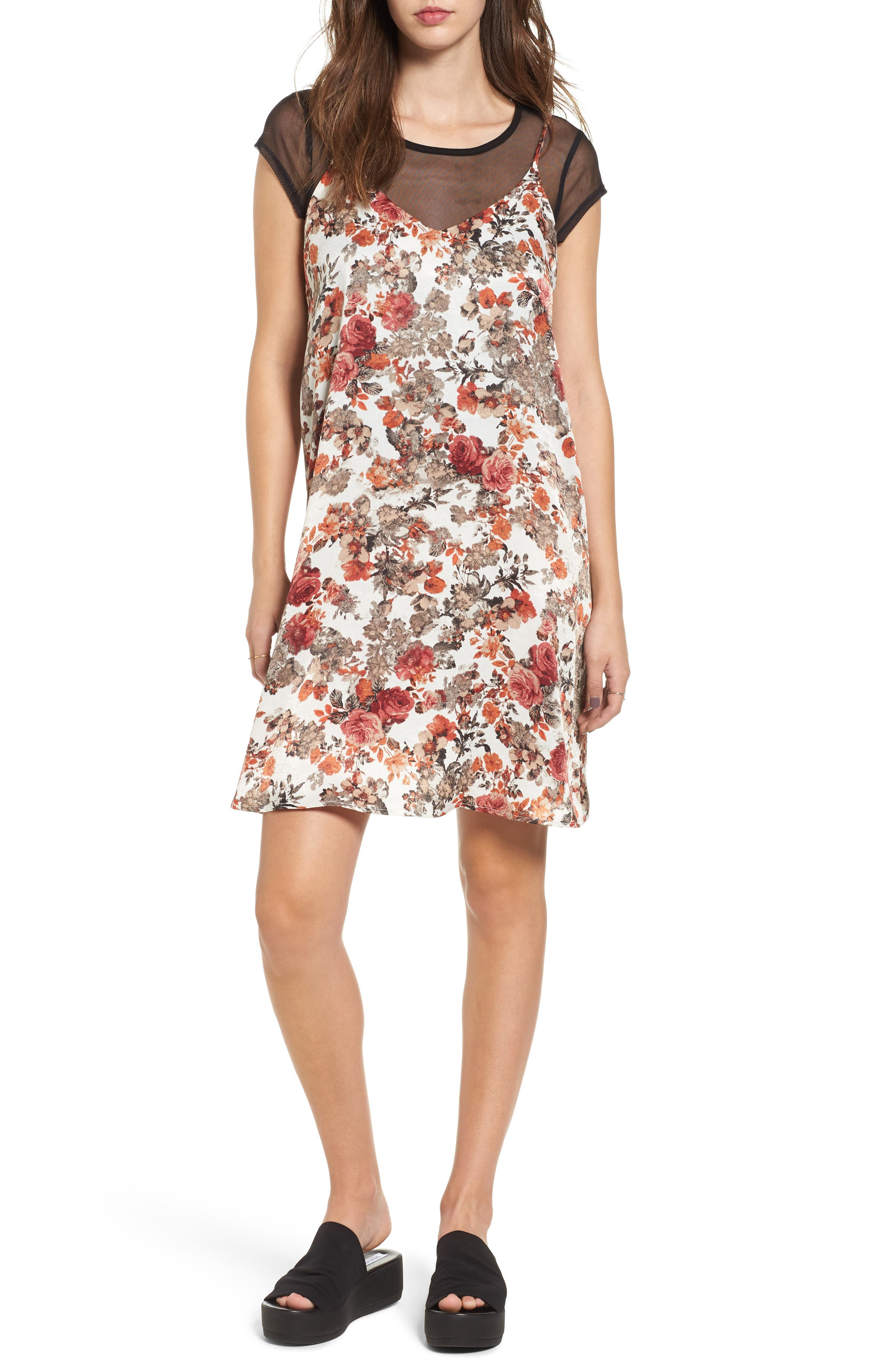 Layered Mesh Tee & Floral Slipdress,                         Main,                         color, White/ Black Multi Floral