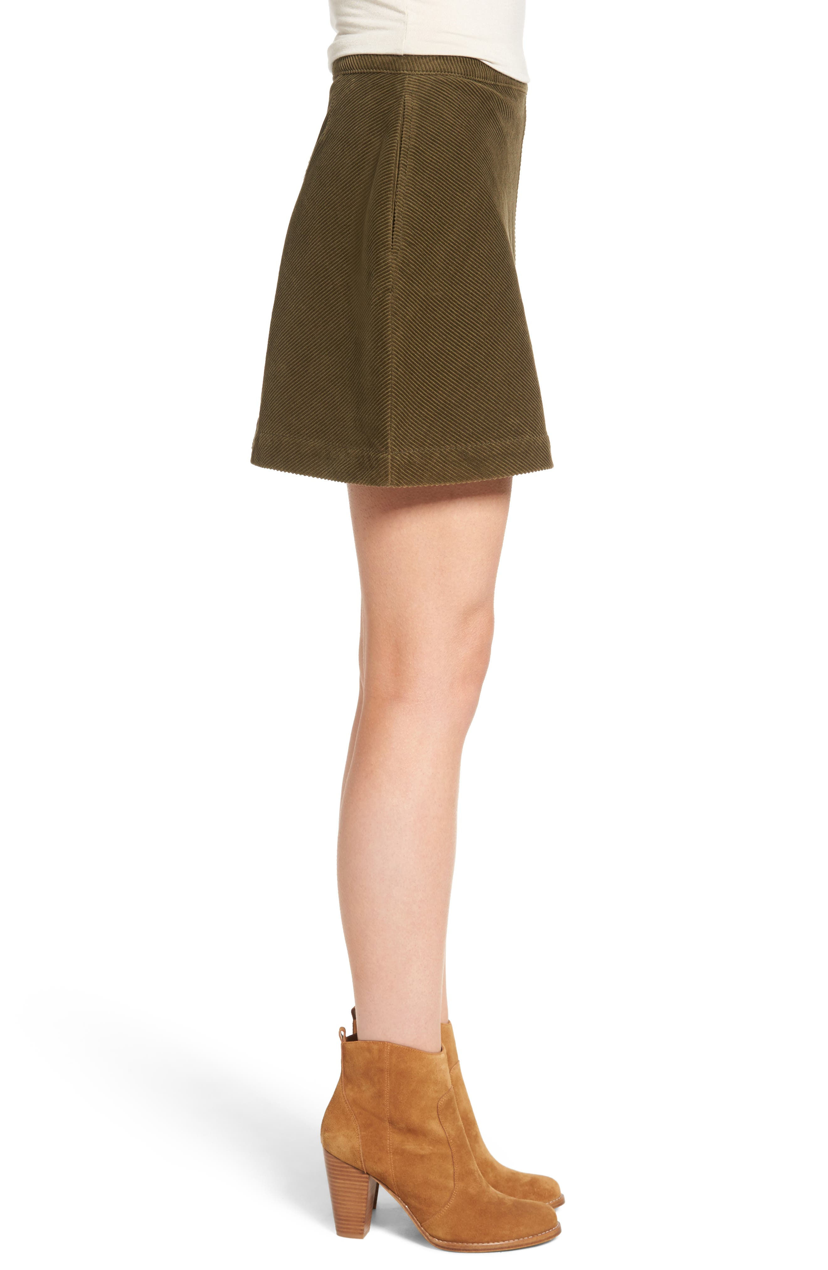 Corduroy A-Line Miniskirt,                             Alternate thumbnail 3, color,                             Olive Dark