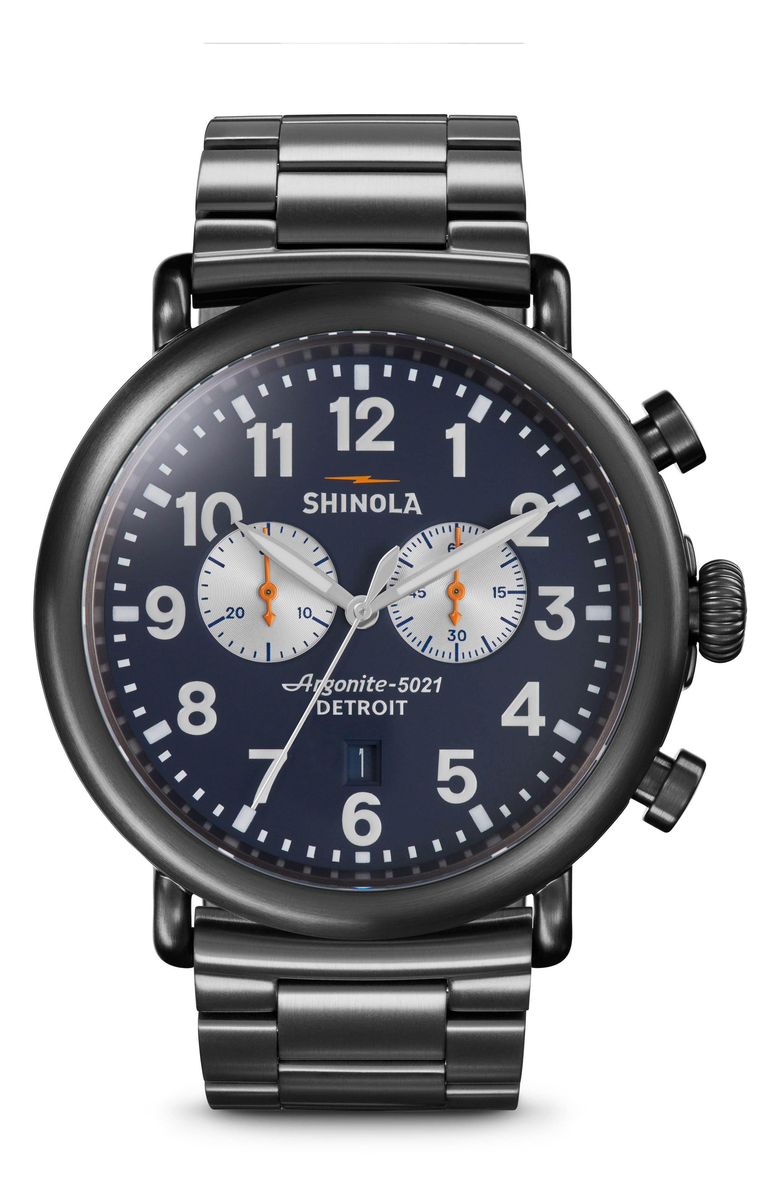 Alternate Image 1 Selected - Shinola 'The Runwell Chrono' Bracelet Watch, 47mm
