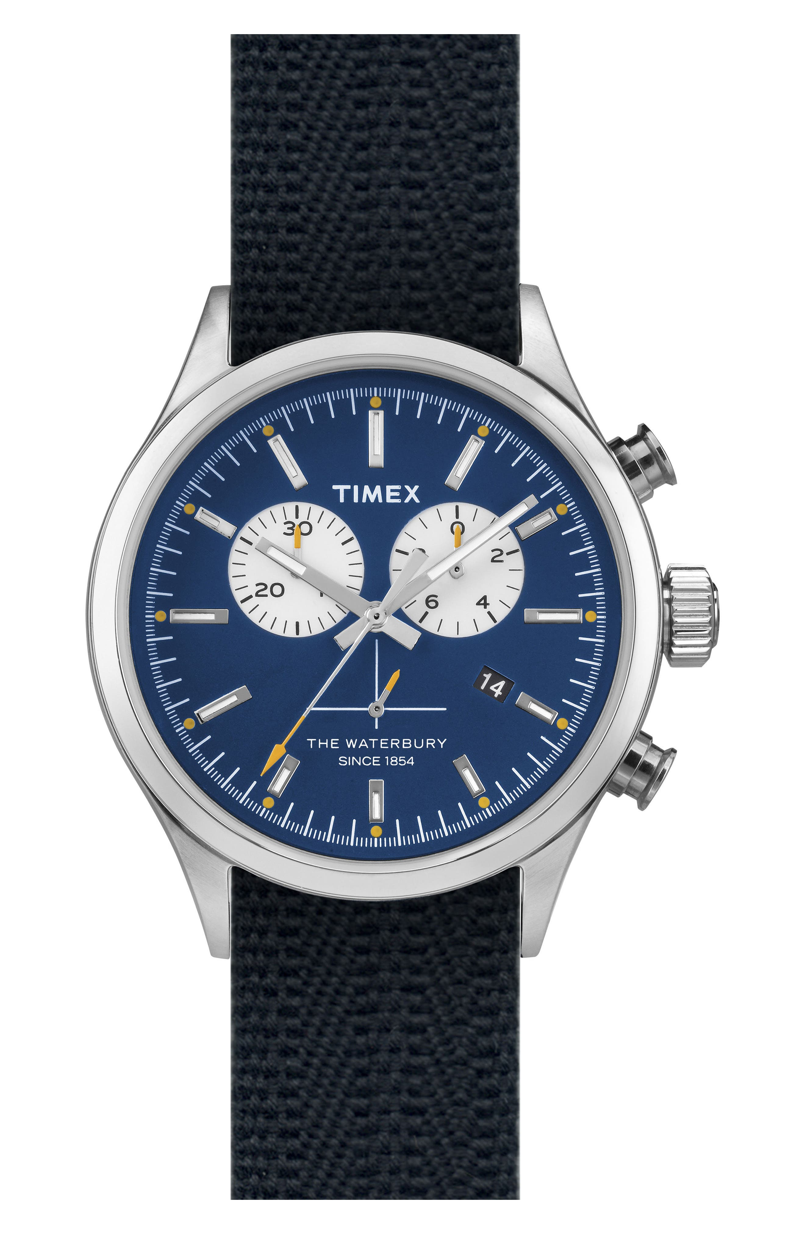 Timex<sup>®</sup> Waterbury Chronograph Fabric Strap Watch, 42mm,                         Main,                         color, Blue/ Blue