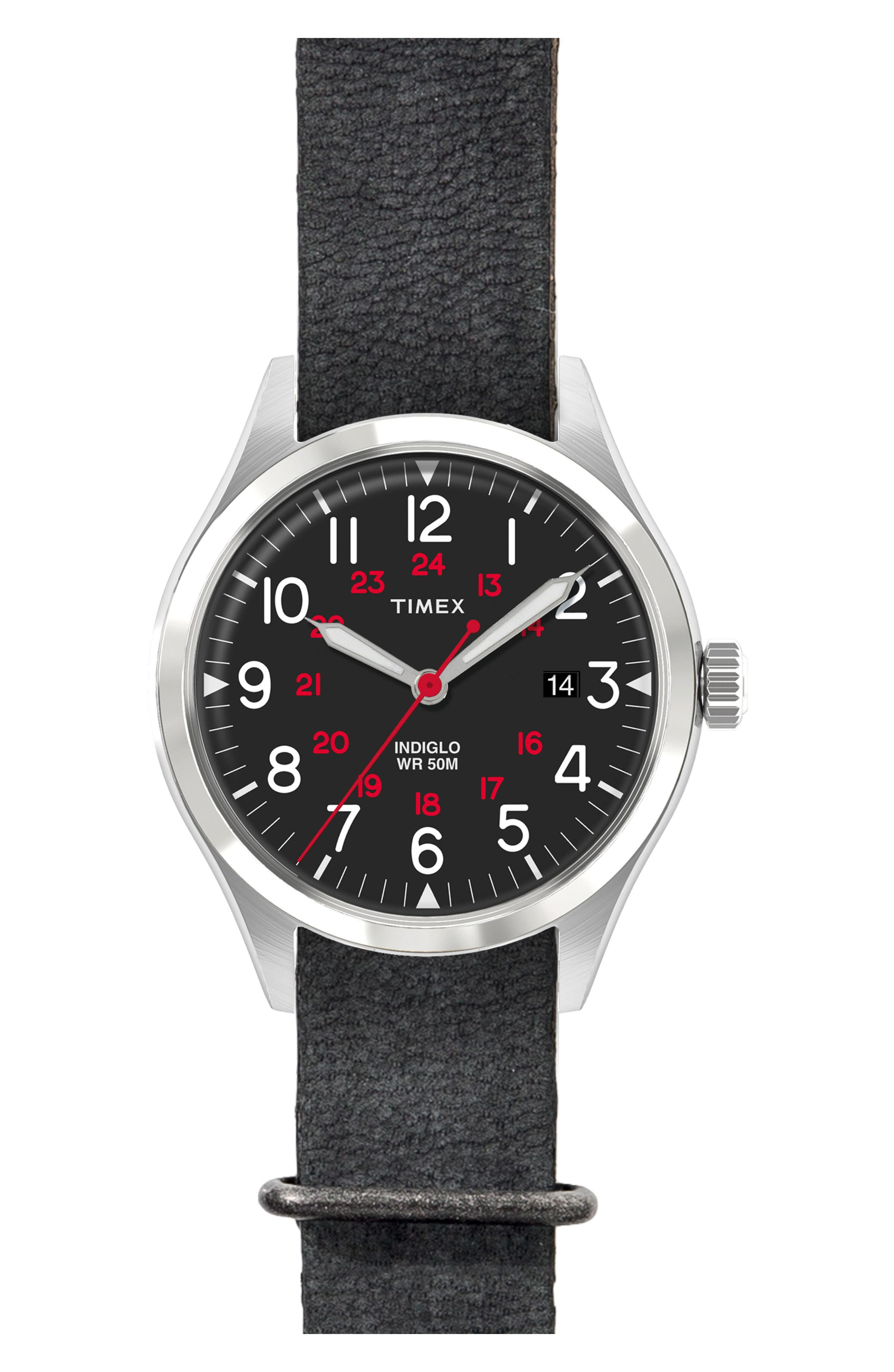 Timex<sup>®</sup> Waterbury United Leather Strap Watch, 38mm,                         Main,                         color, Black/ Black Washed Leather