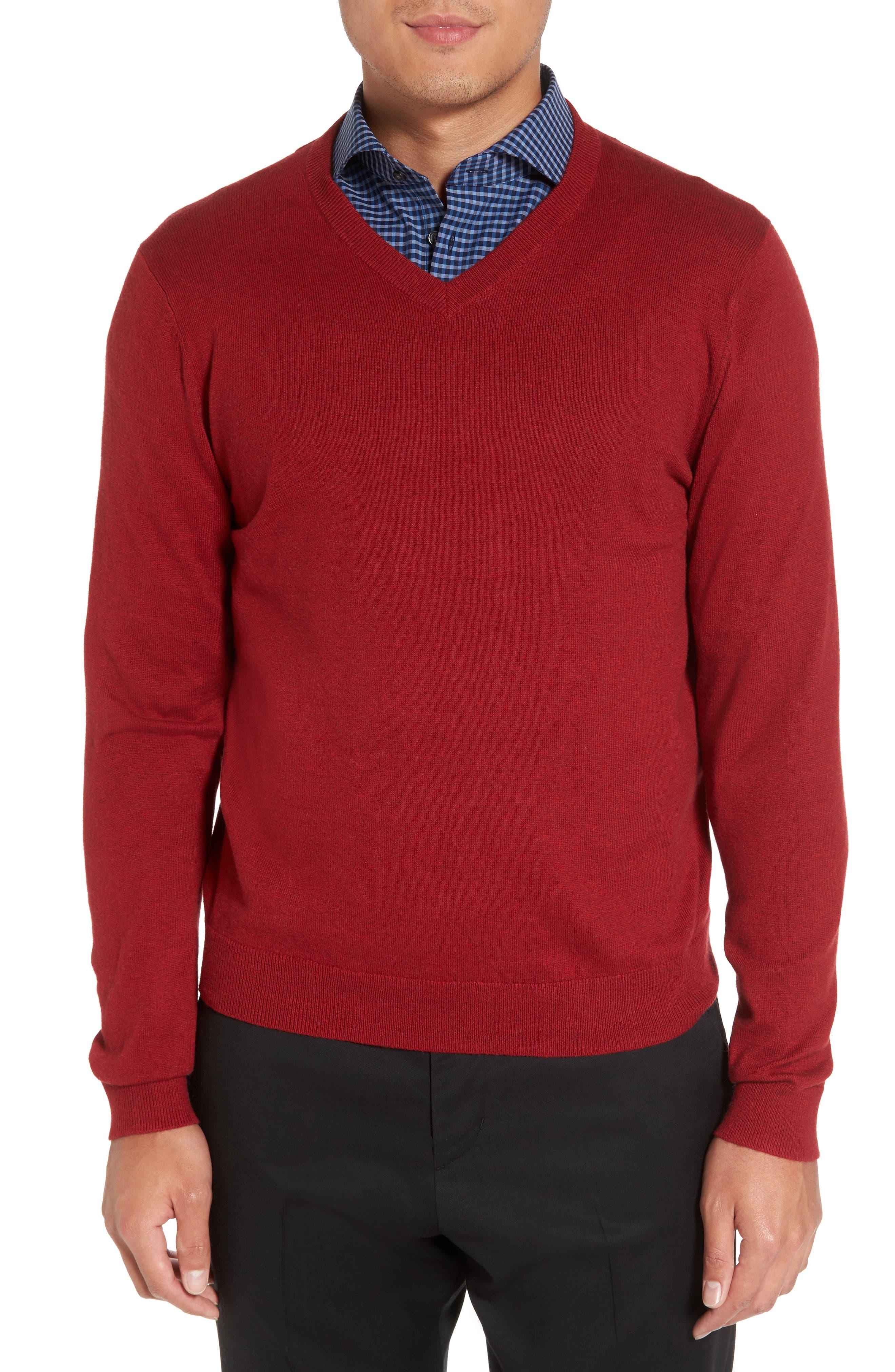 Alternate Image 1 Selected - Nordstrom Men's Shop Cotton & Cashmere V-Neck Sweater (Regular & Tall)