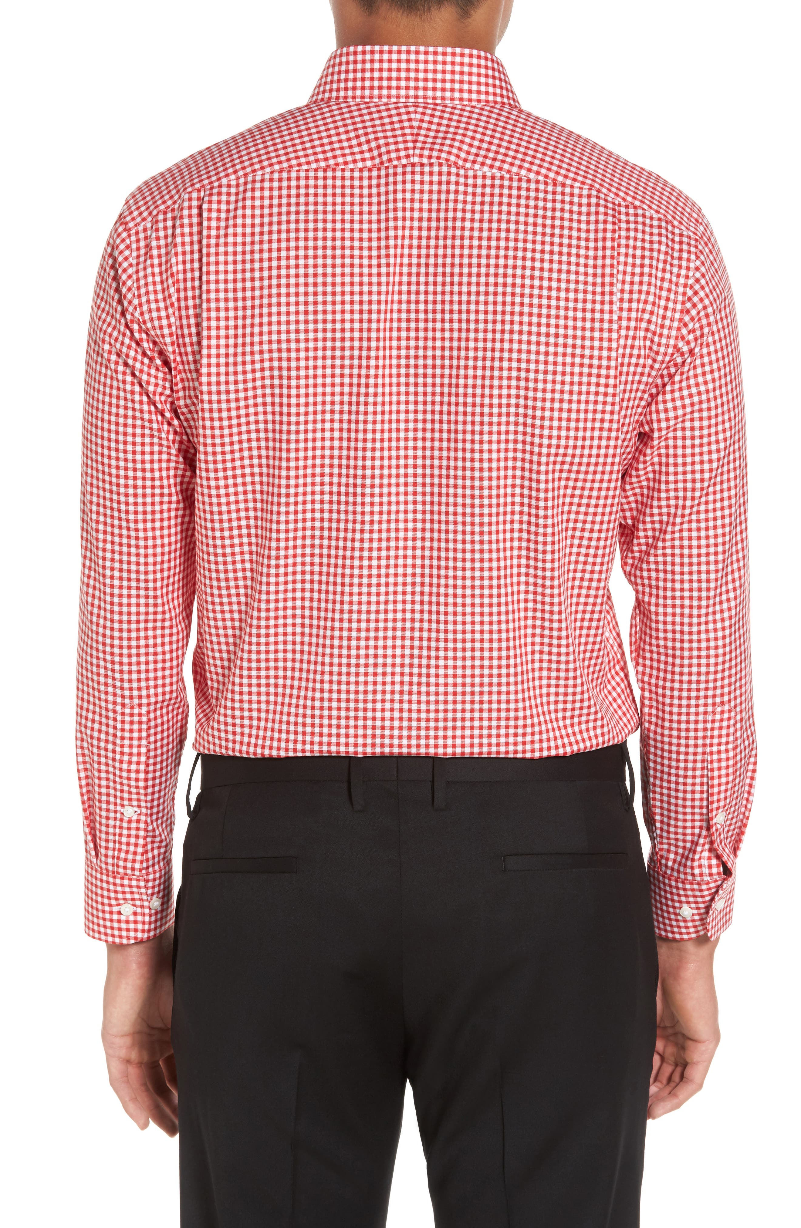 Trim Fit Non-Iron Gingham Dress Shirt,                             Alternate thumbnail 2, color,                             Red Blaze