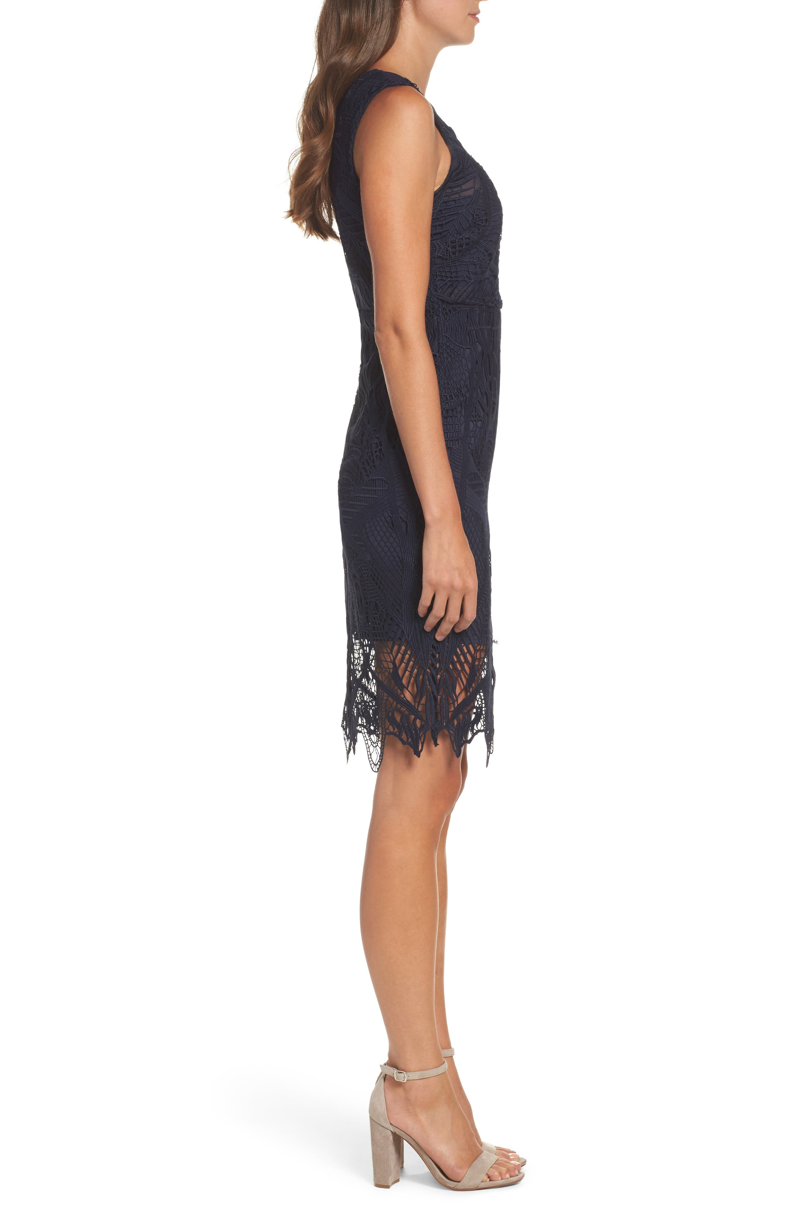 Illusion Lace Sheath Dress,                             Alternate thumbnail 3, color,                             French Navy