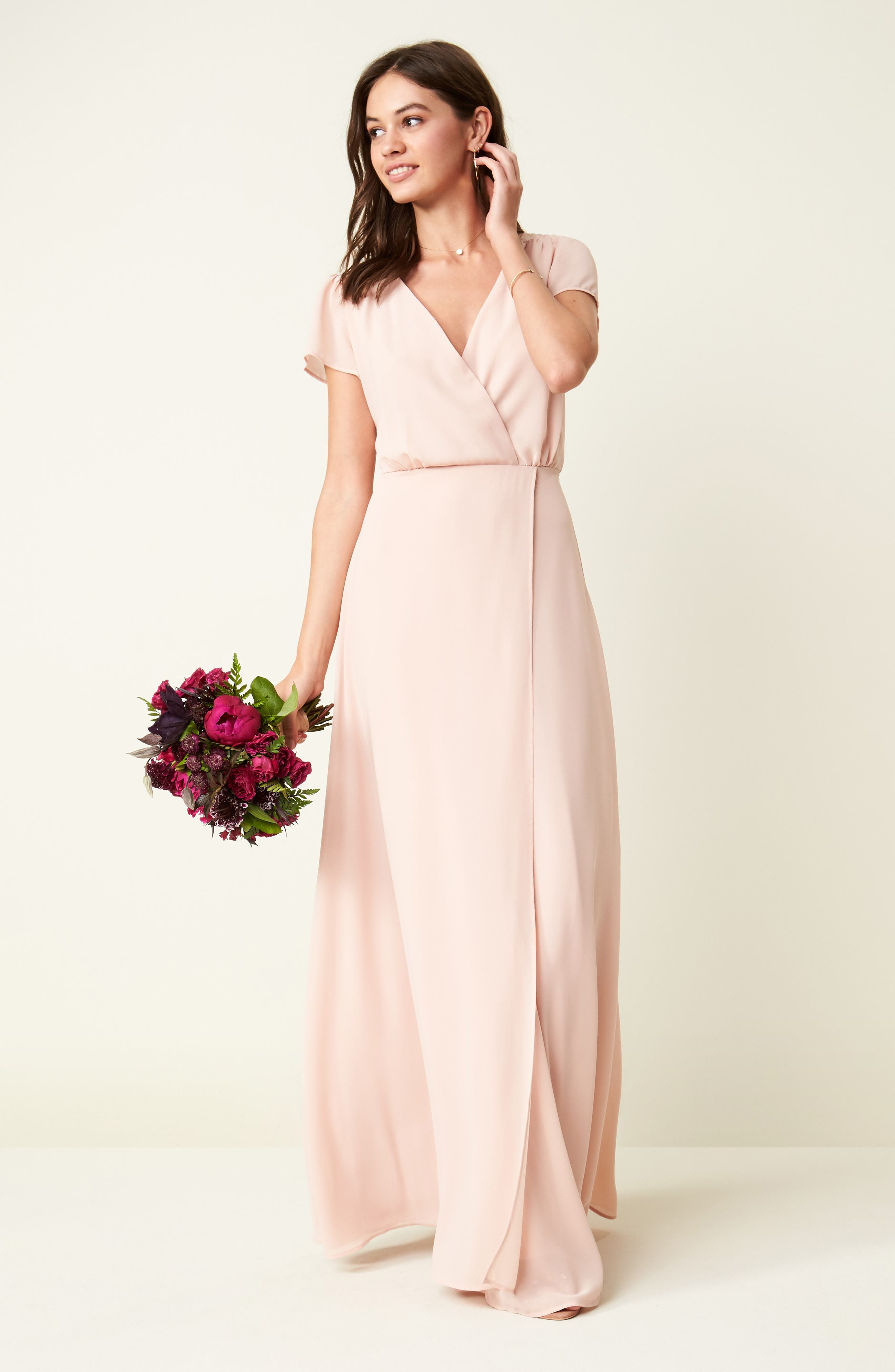 Lace-Up Back Chiffon Gown,                             Alternate thumbnail 2, color,                             Nude Blush