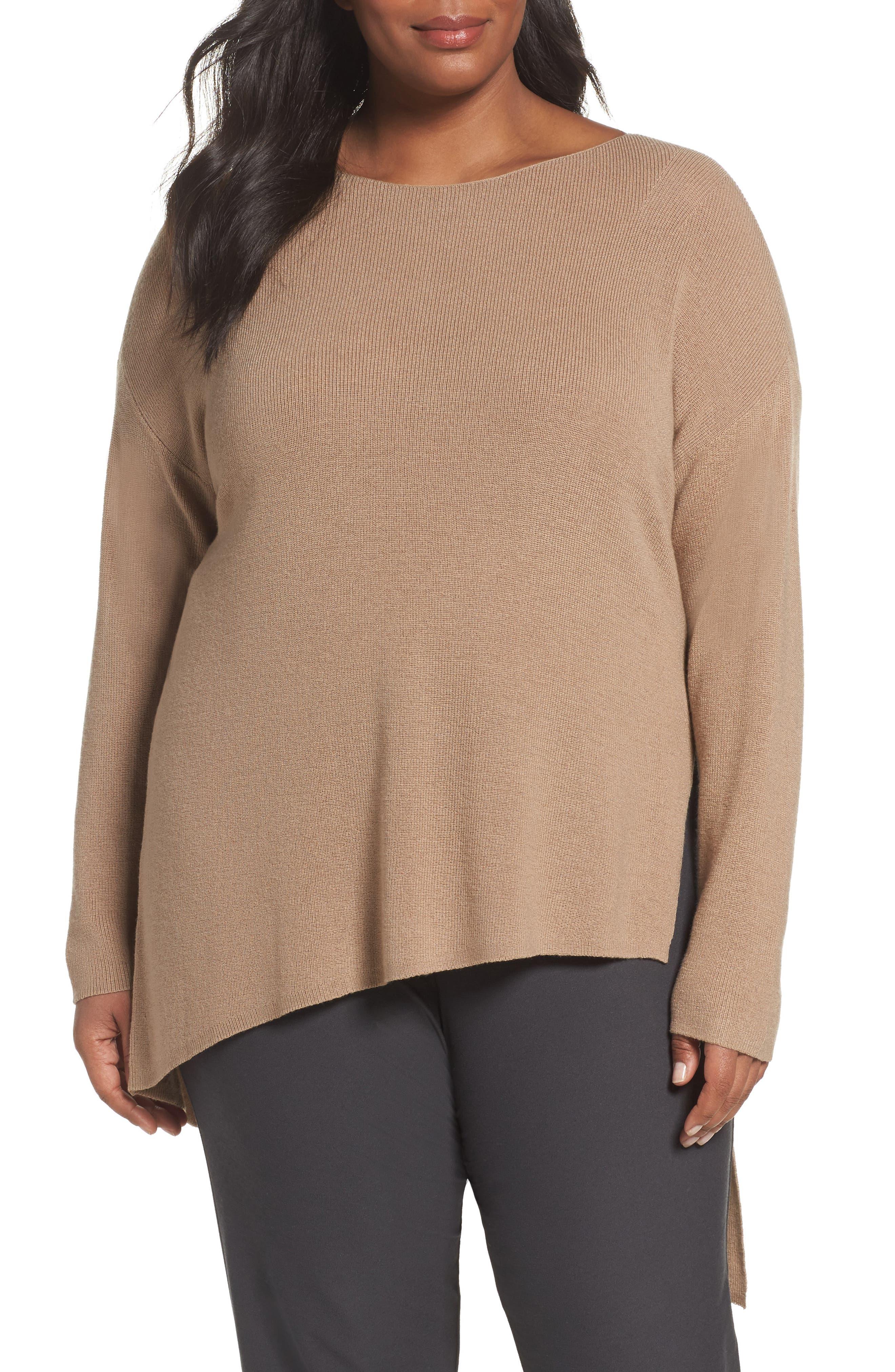 Eileen Fisher Asymmetrical Merino Wool Pullover (Plus Size)