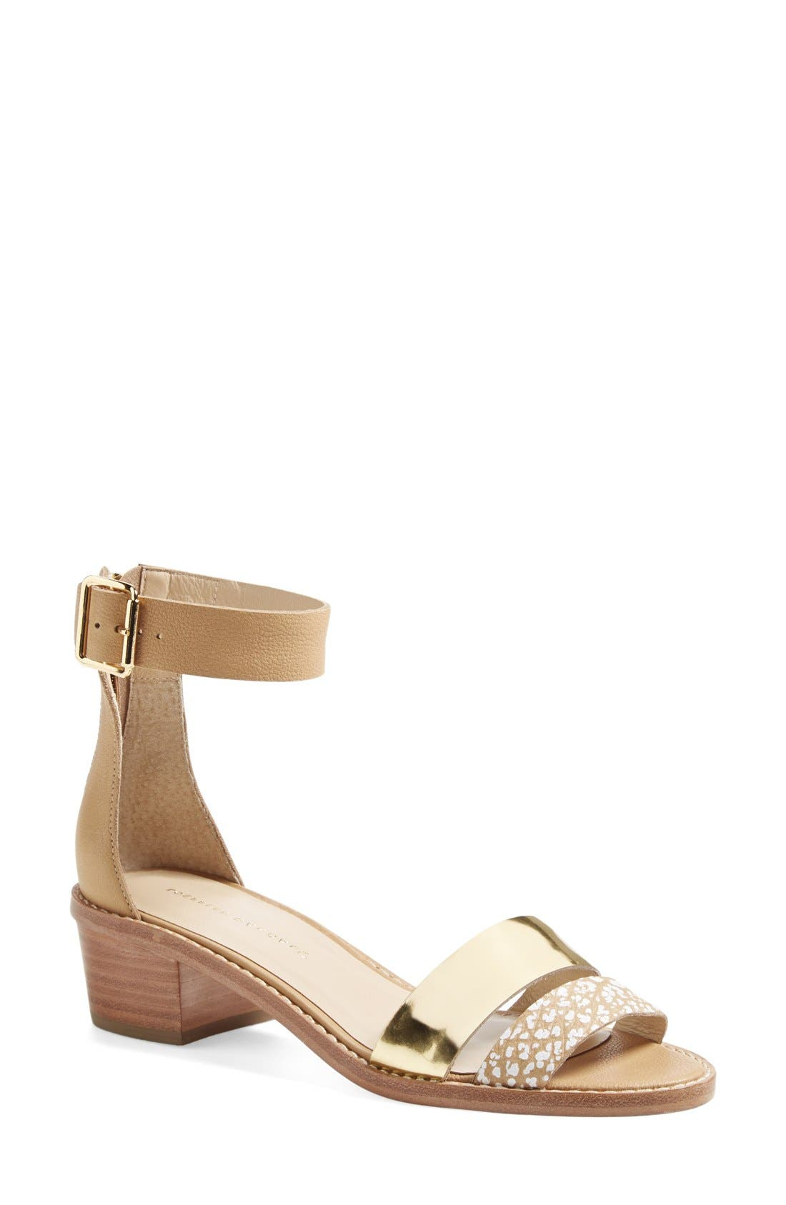 'Henry' Leather Sandal,                         Main,                         color, Natural/ Gold Mix