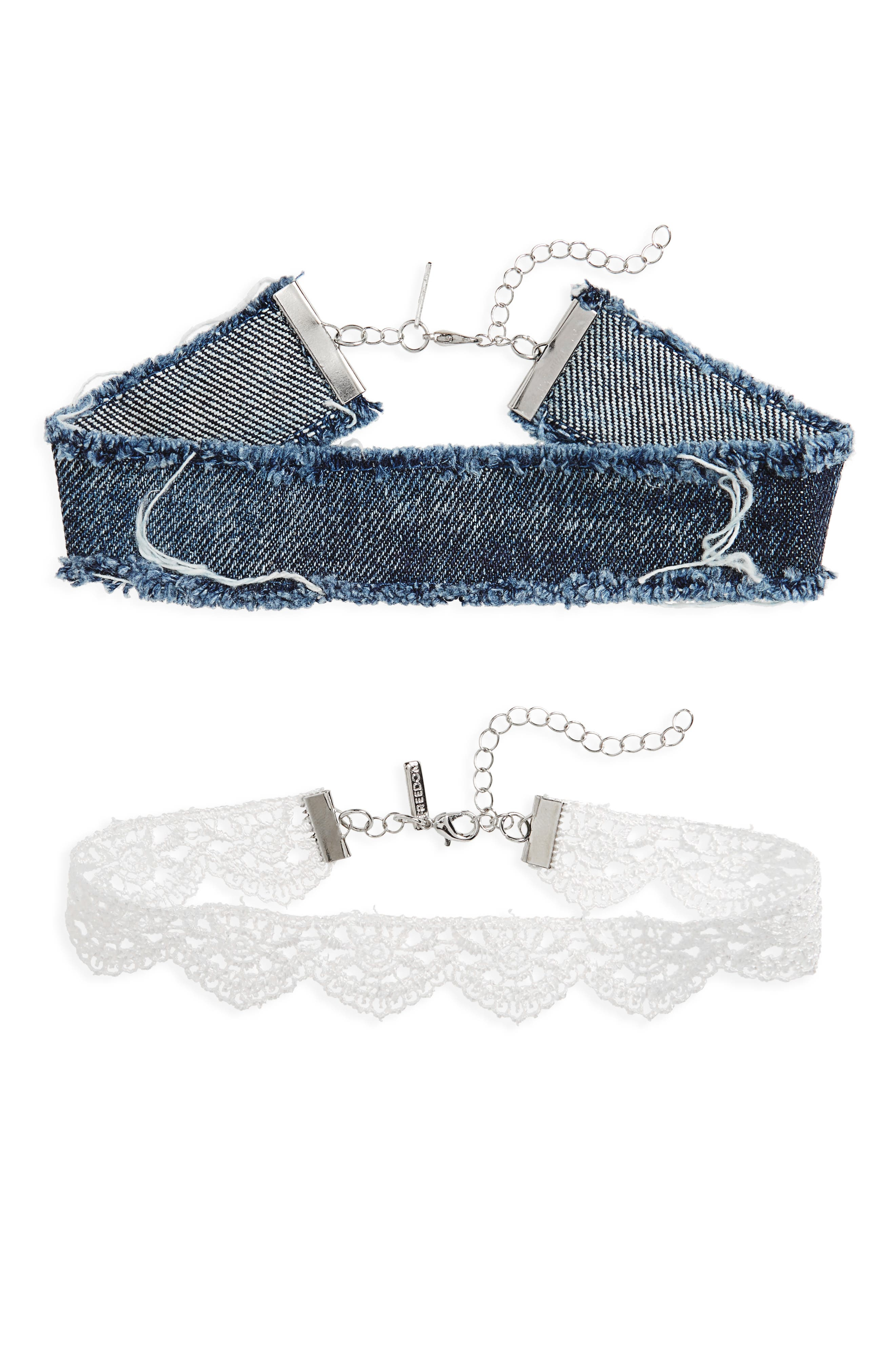 Topshop Set of 2 Lace & Denim Chokers