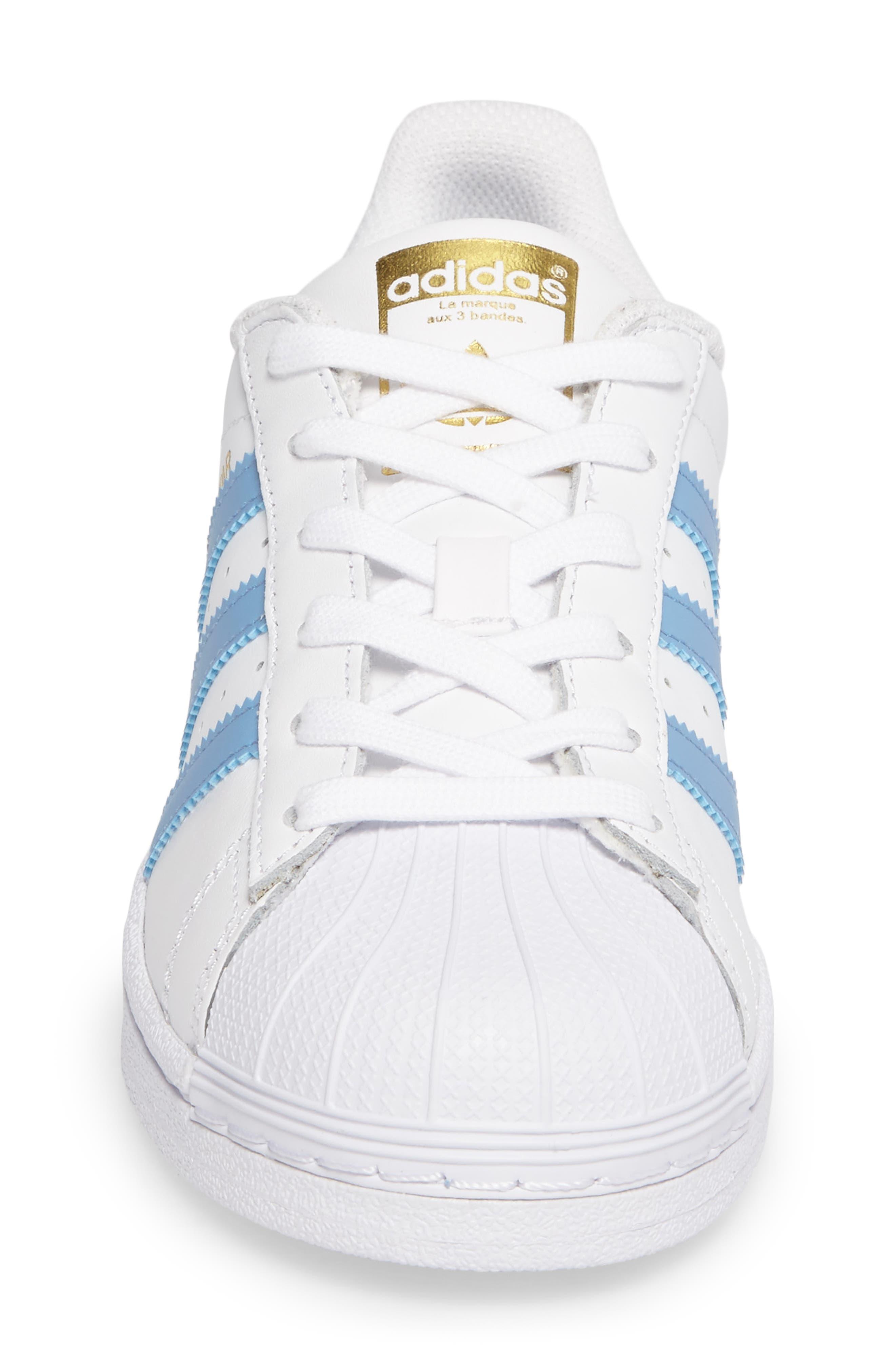 Superstar Foundation Sneaker,                             Alternate thumbnail 4, color,                             White/ Light Blue/ Gold