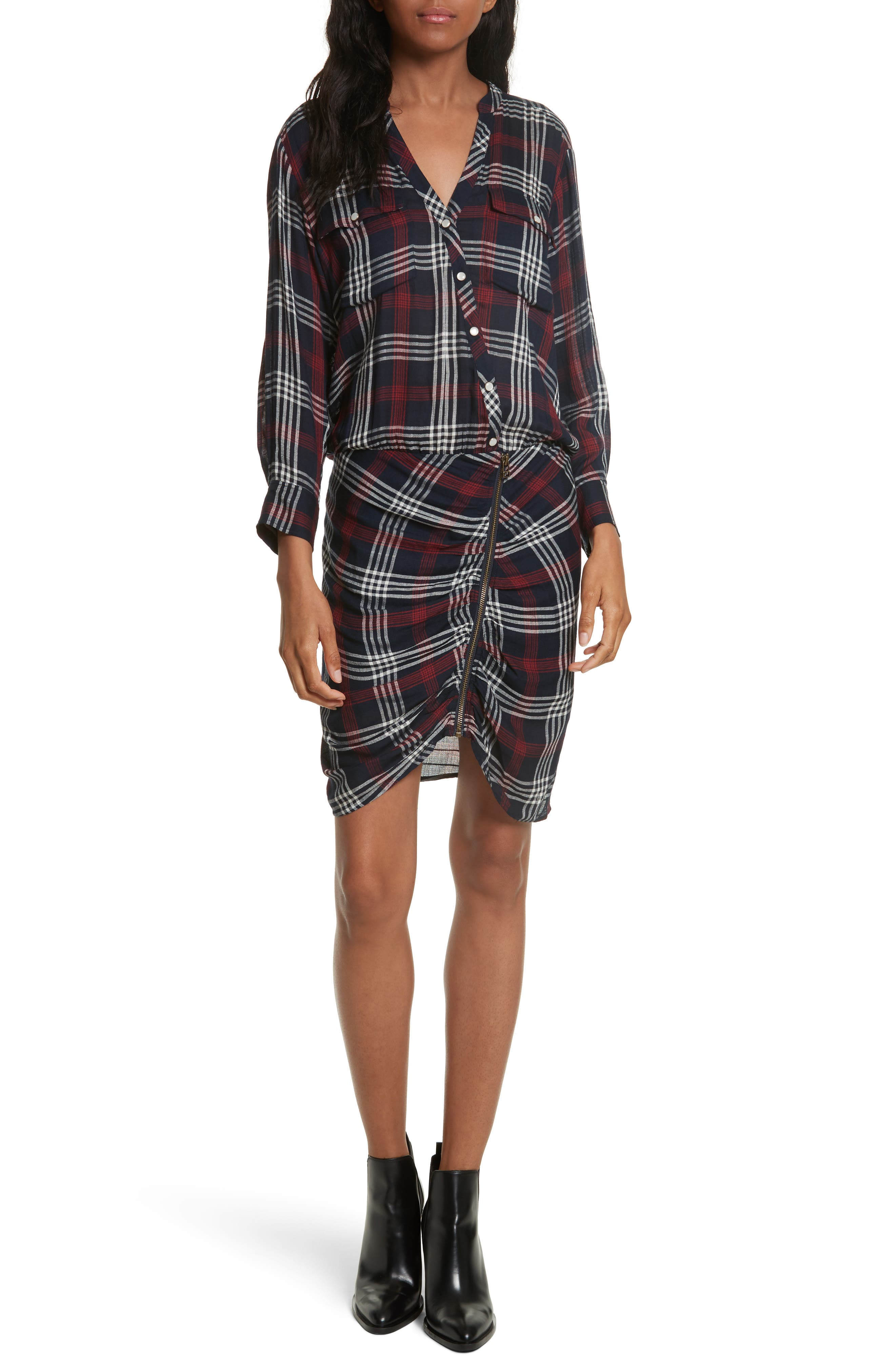 Emory Ruched Cargo Shirtdress,                         Main,                         color, Navy