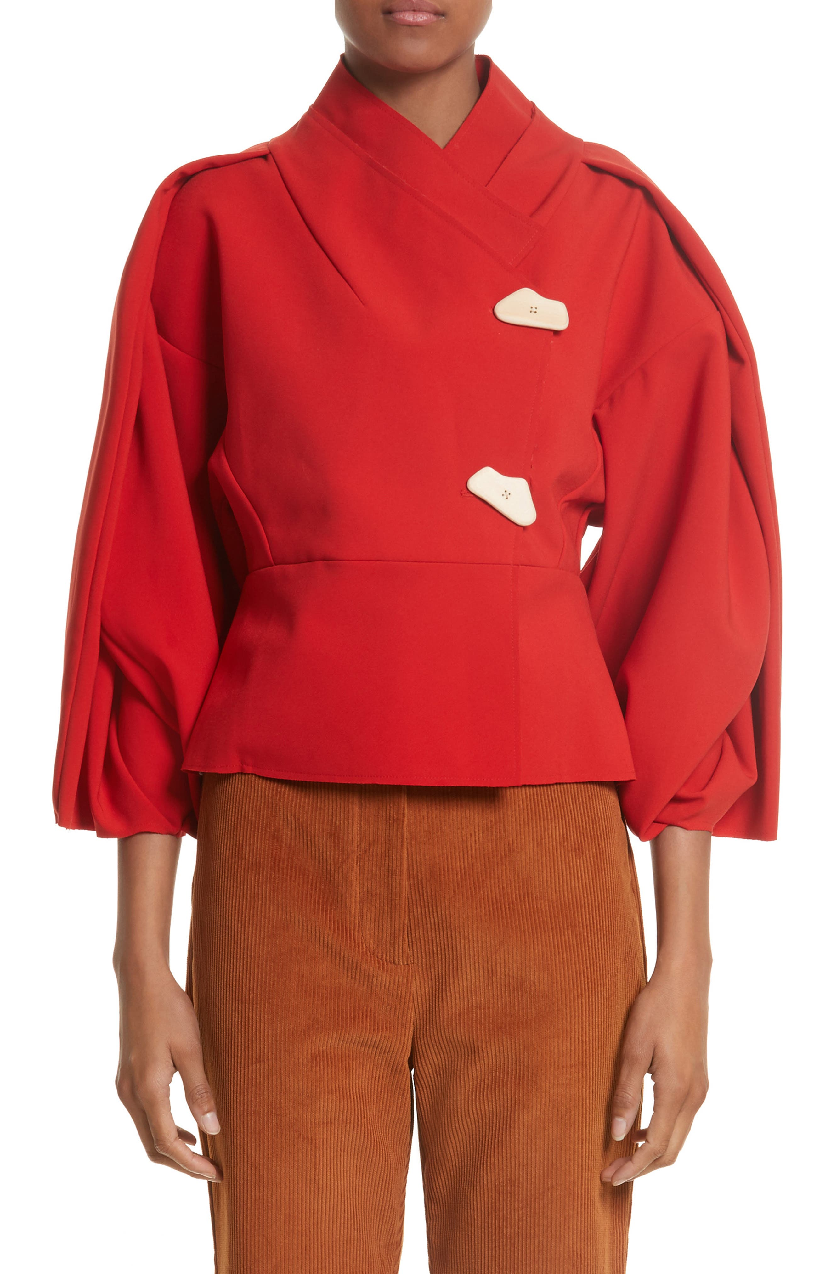 Twisted Sleeve Top,                         Main,                         color, Red