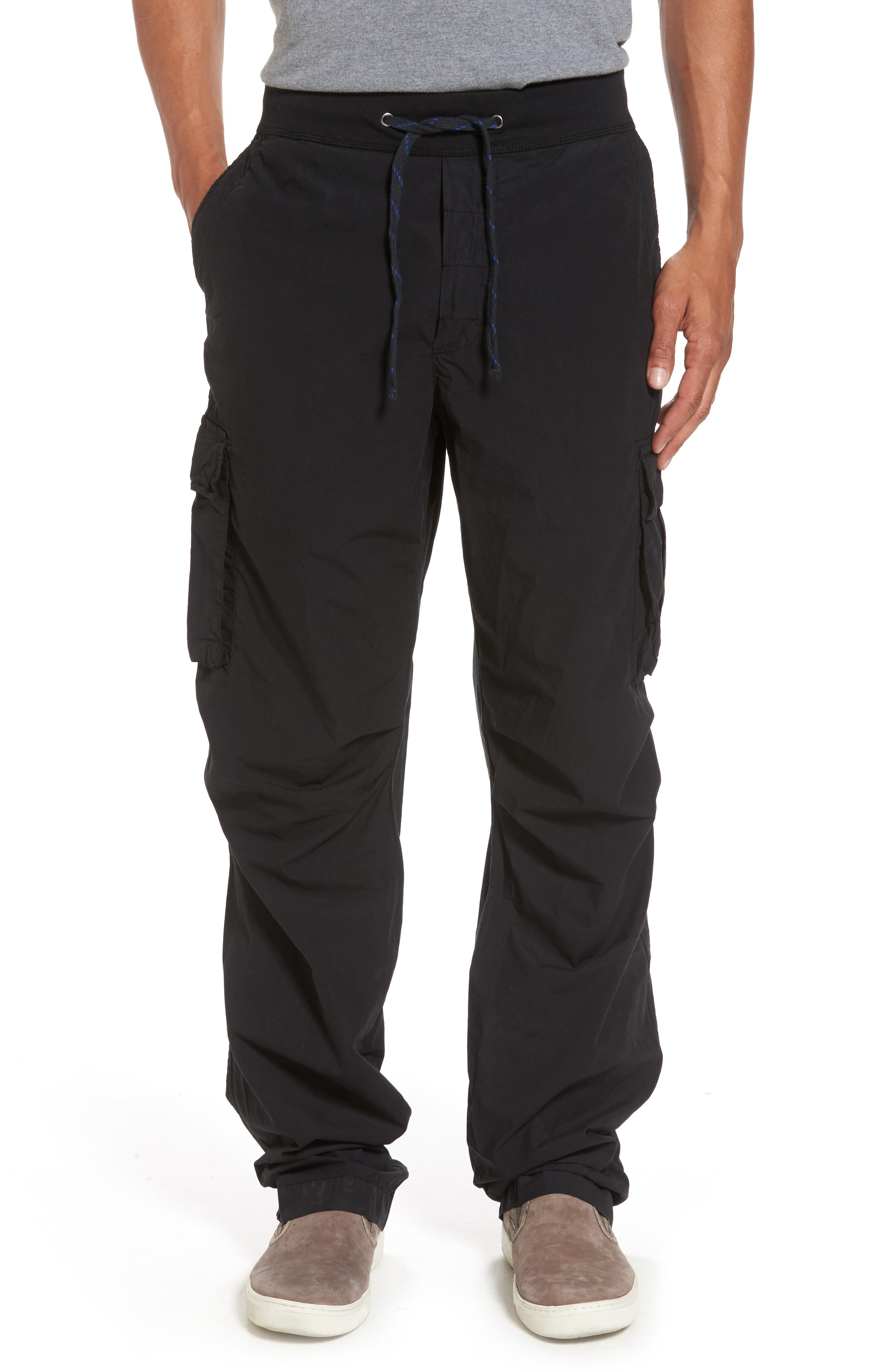Contrast Waist Cargo Pants,                         Main,                         color, Black