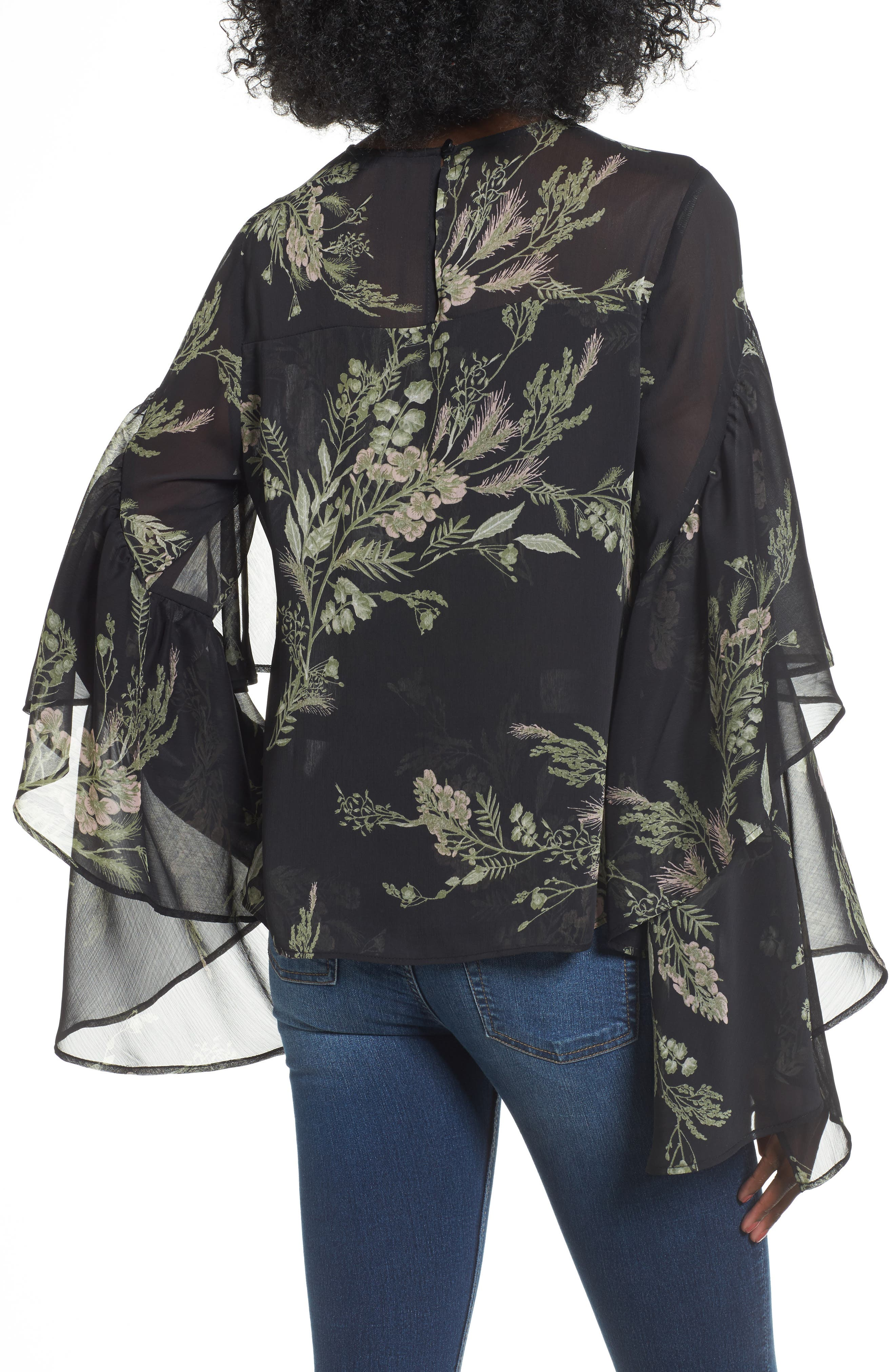 Tiered Flounce Top,                             Alternate thumbnail 2, color,                             Black Whispy Floral