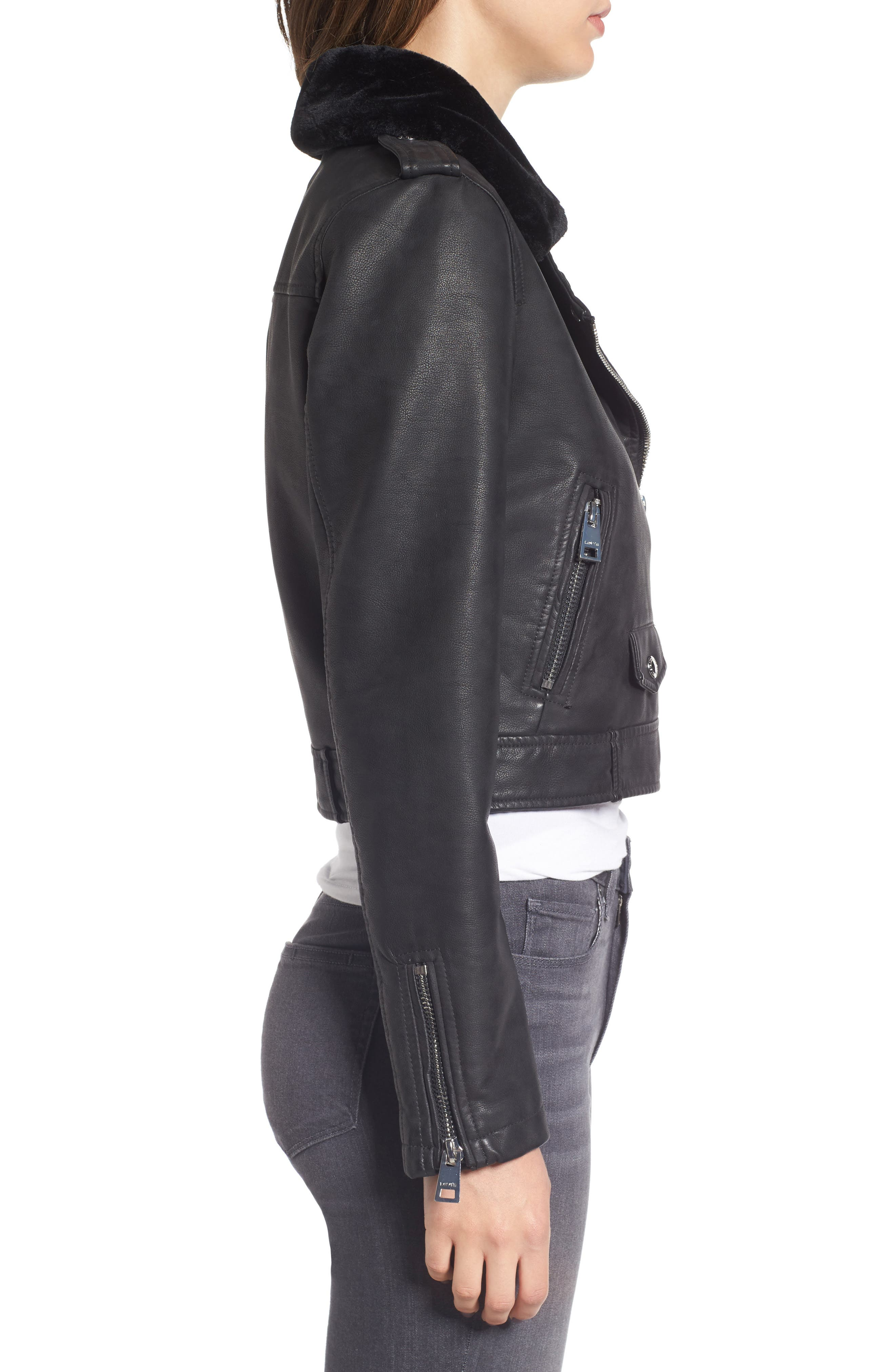 Levis<sup>®</sup> Sherpa Faux Leather Moto Jacket with Faux Fur Collar,                             Alternate thumbnail 3, color,                             Black