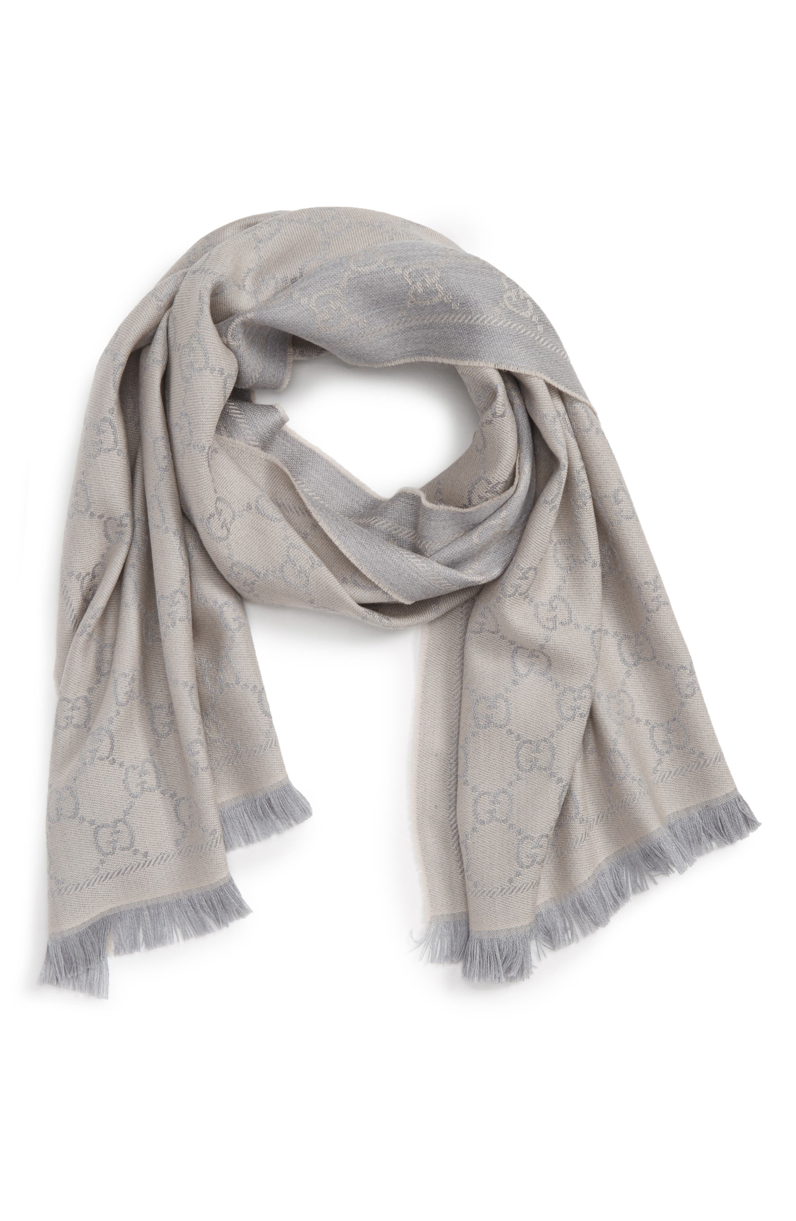 GG Jacquard Wool Scarf,                         Main,                         color, 1763 Zinc/Ight Grey