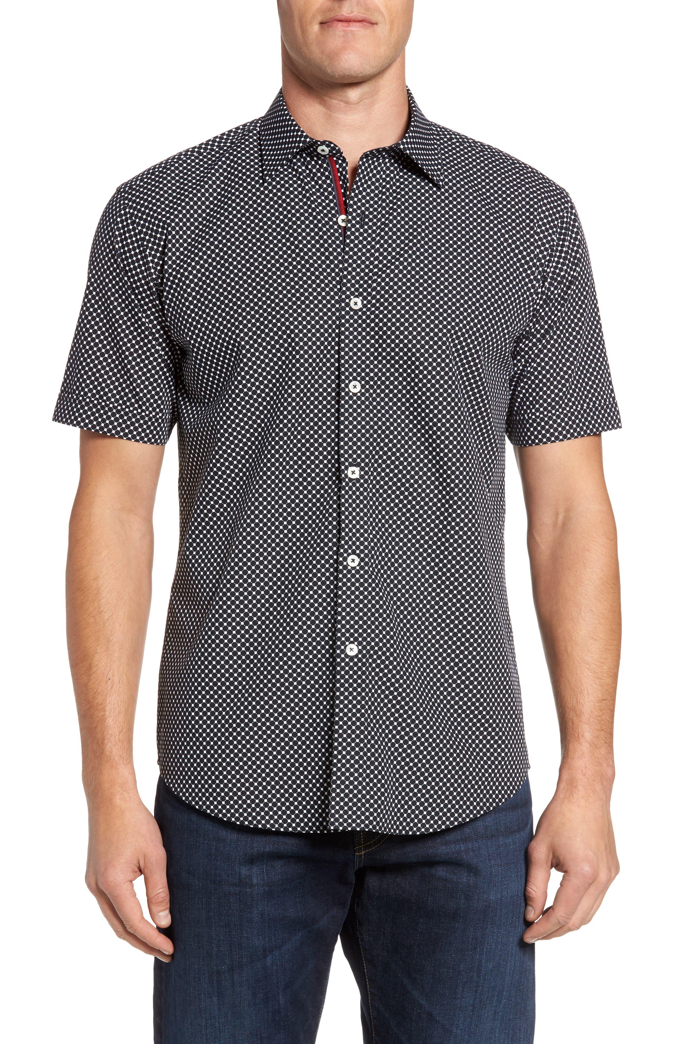 Shaped Fit Spot Grid Sport Shirt,                         Main,                         color, Black