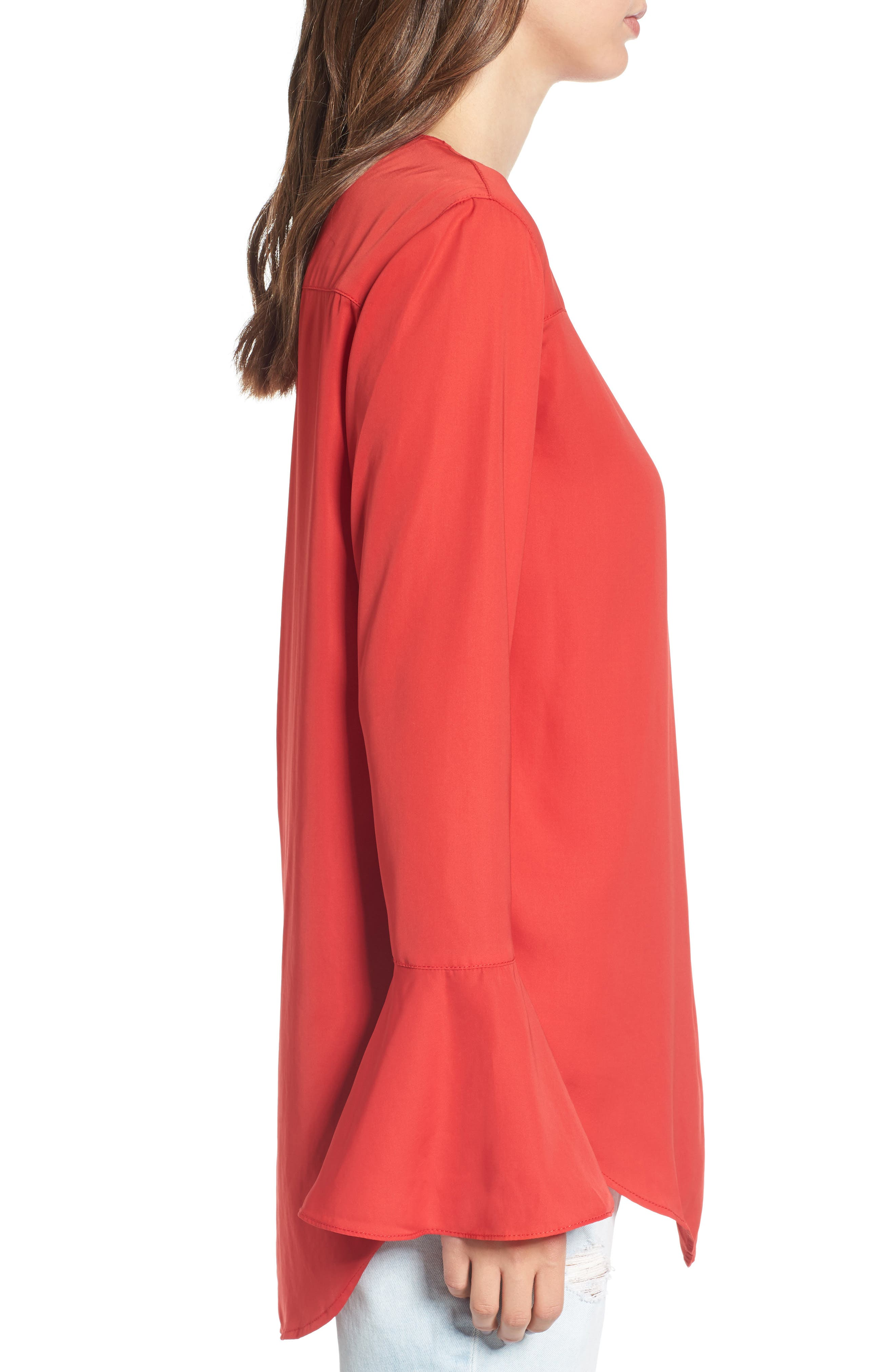 Bell Sleeve Top,                             Alternate thumbnail 3, color,                             Red Ribbon