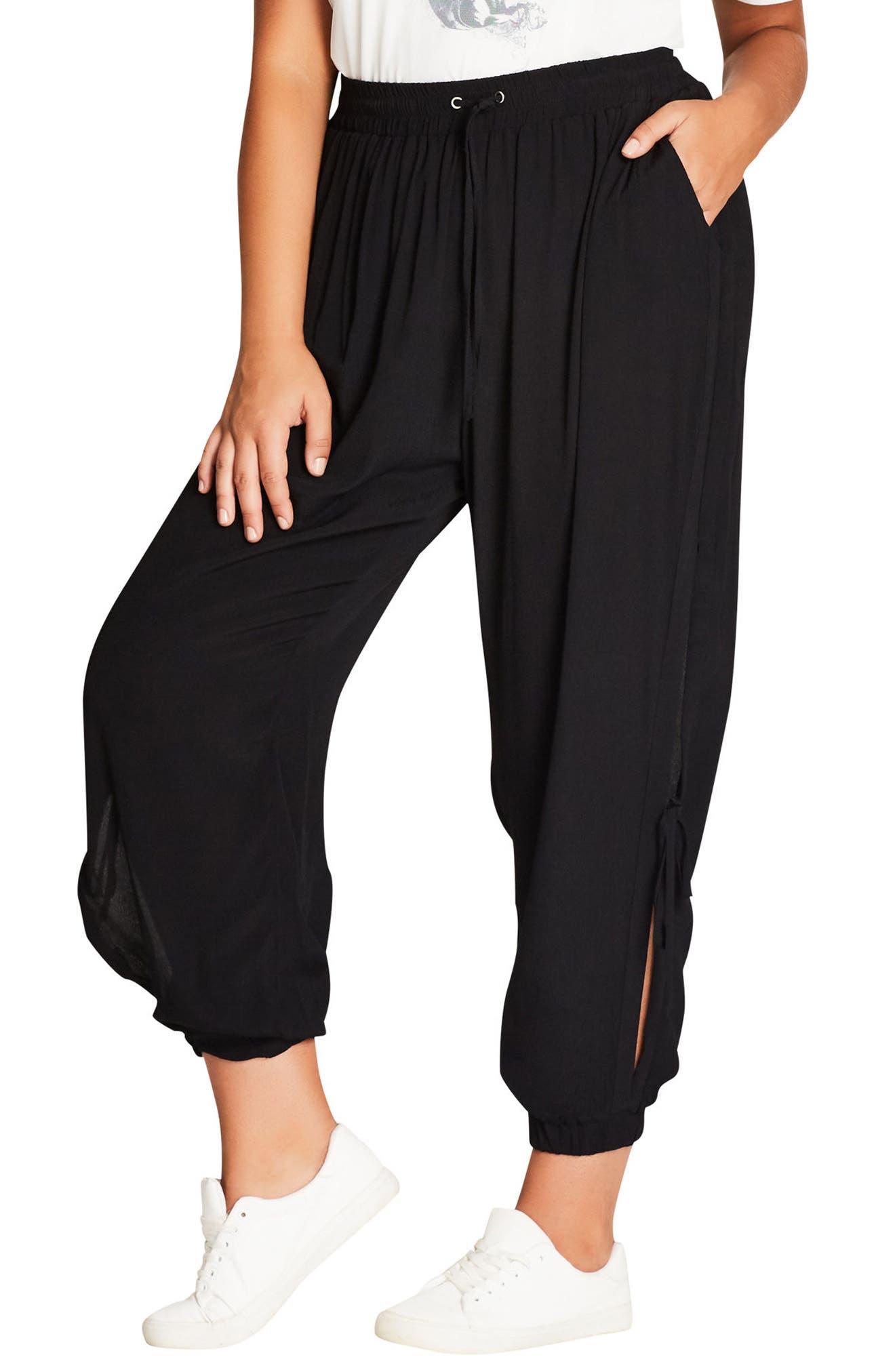 Side Tie Jogger Pants,                         Main,                         color, Black