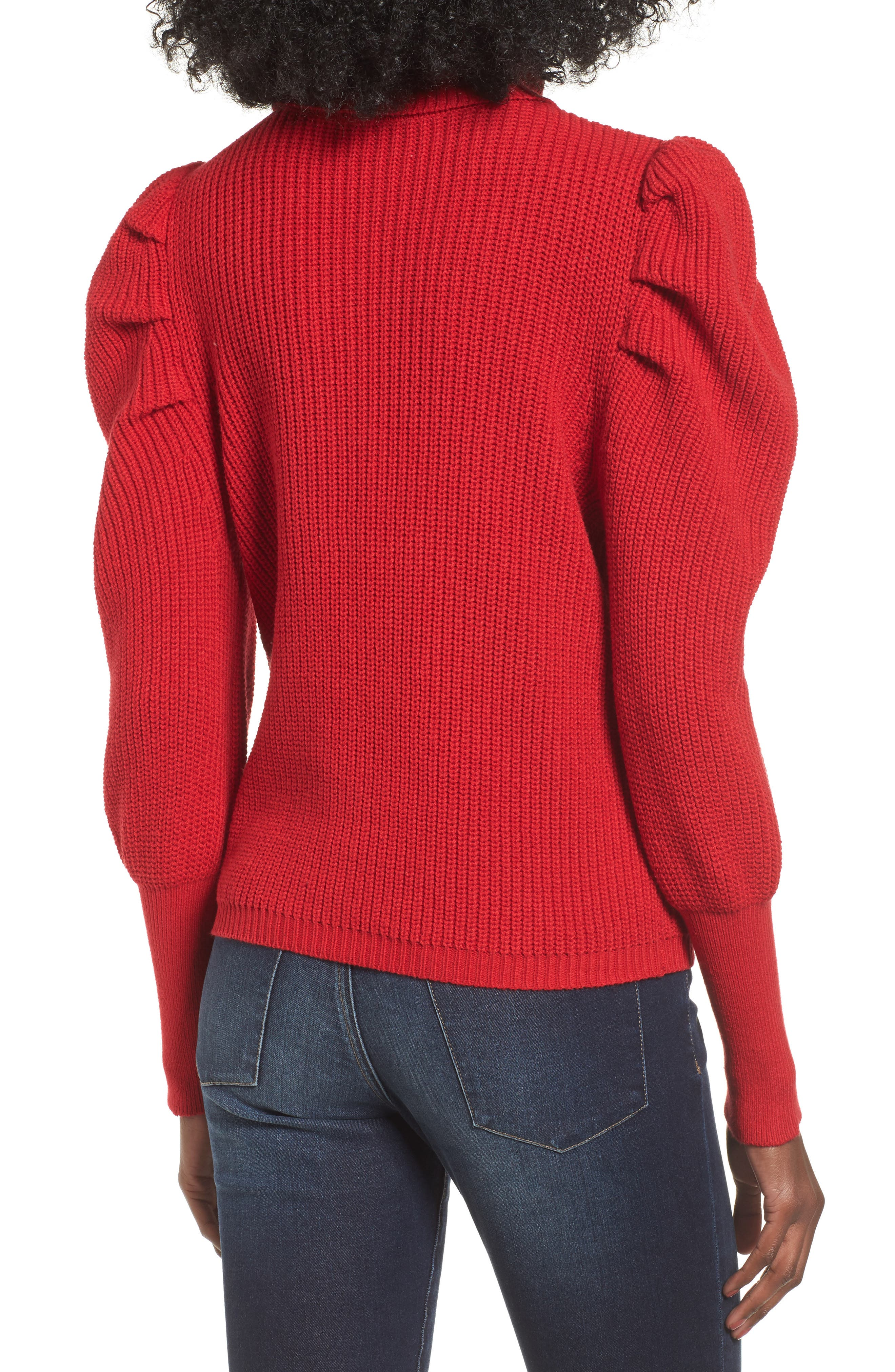 Puff Sleeve Turtleneck Sweater,                             Alternate thumbnail 2, color,                             Red Couture
