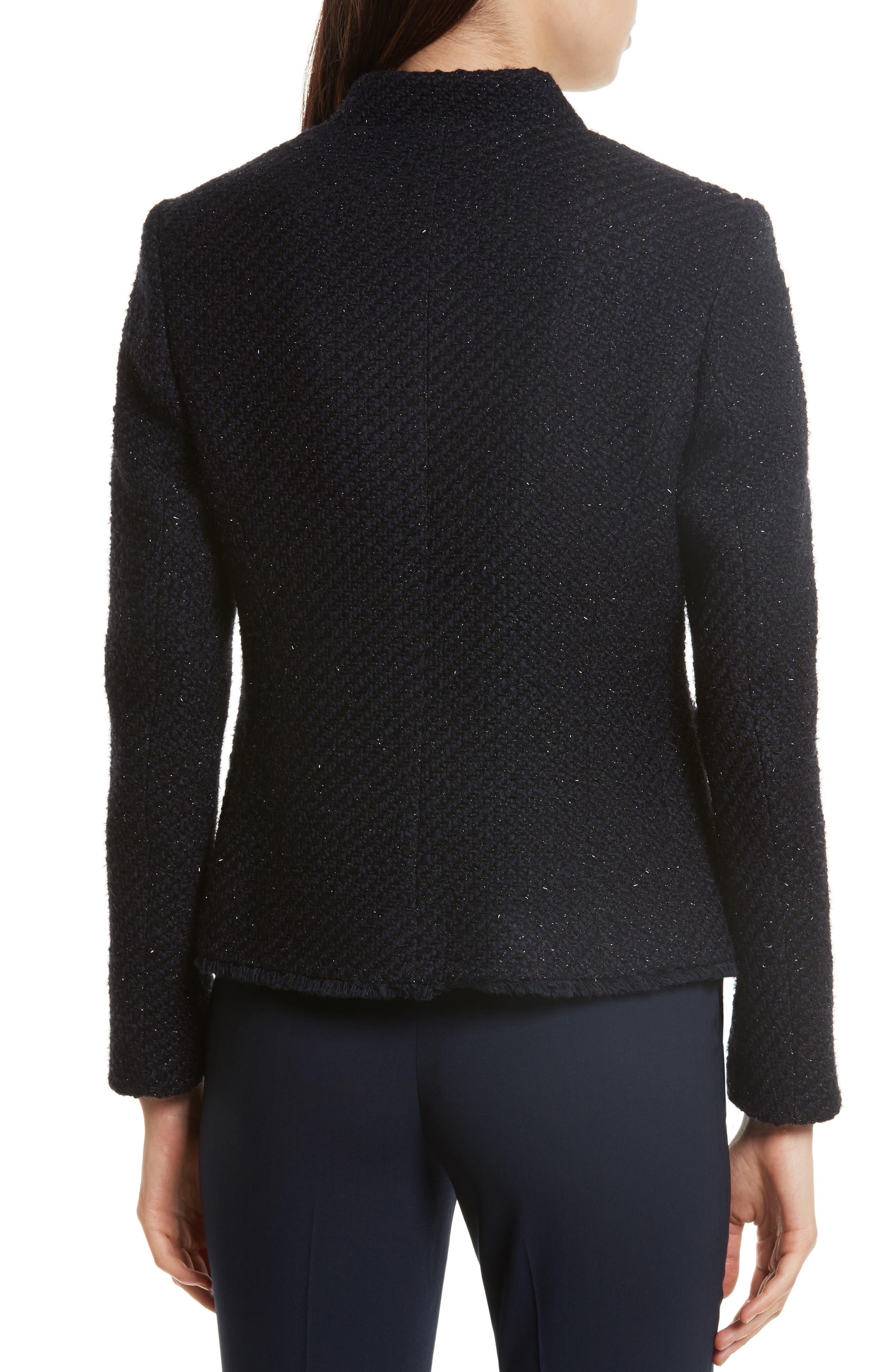 Glitter Tweed Jacket,                             Alternate thumbnail 2, color,                             Navy