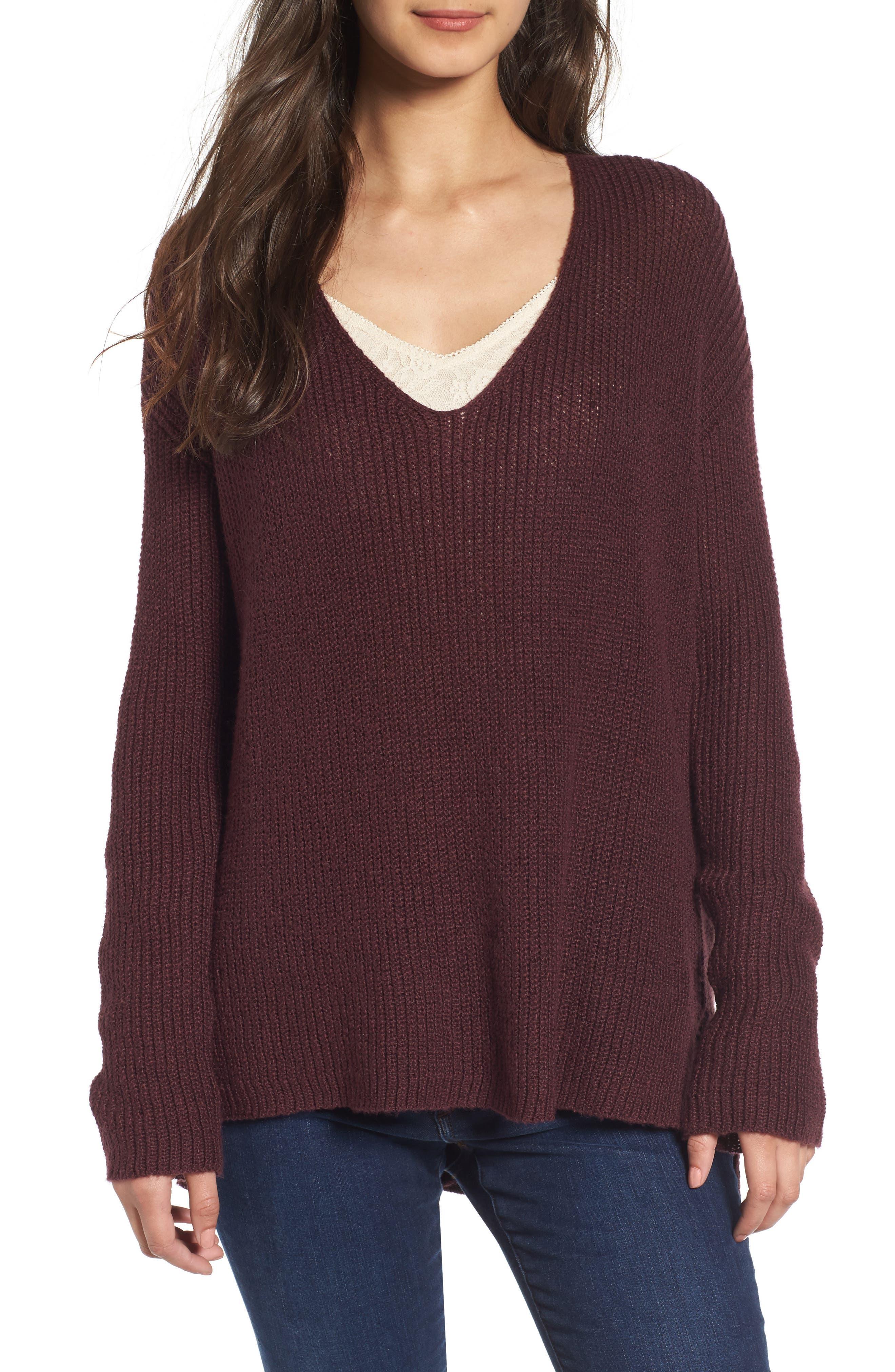 Alternate Image 1 Selected - Hinge Button Back V-Neck Sweater