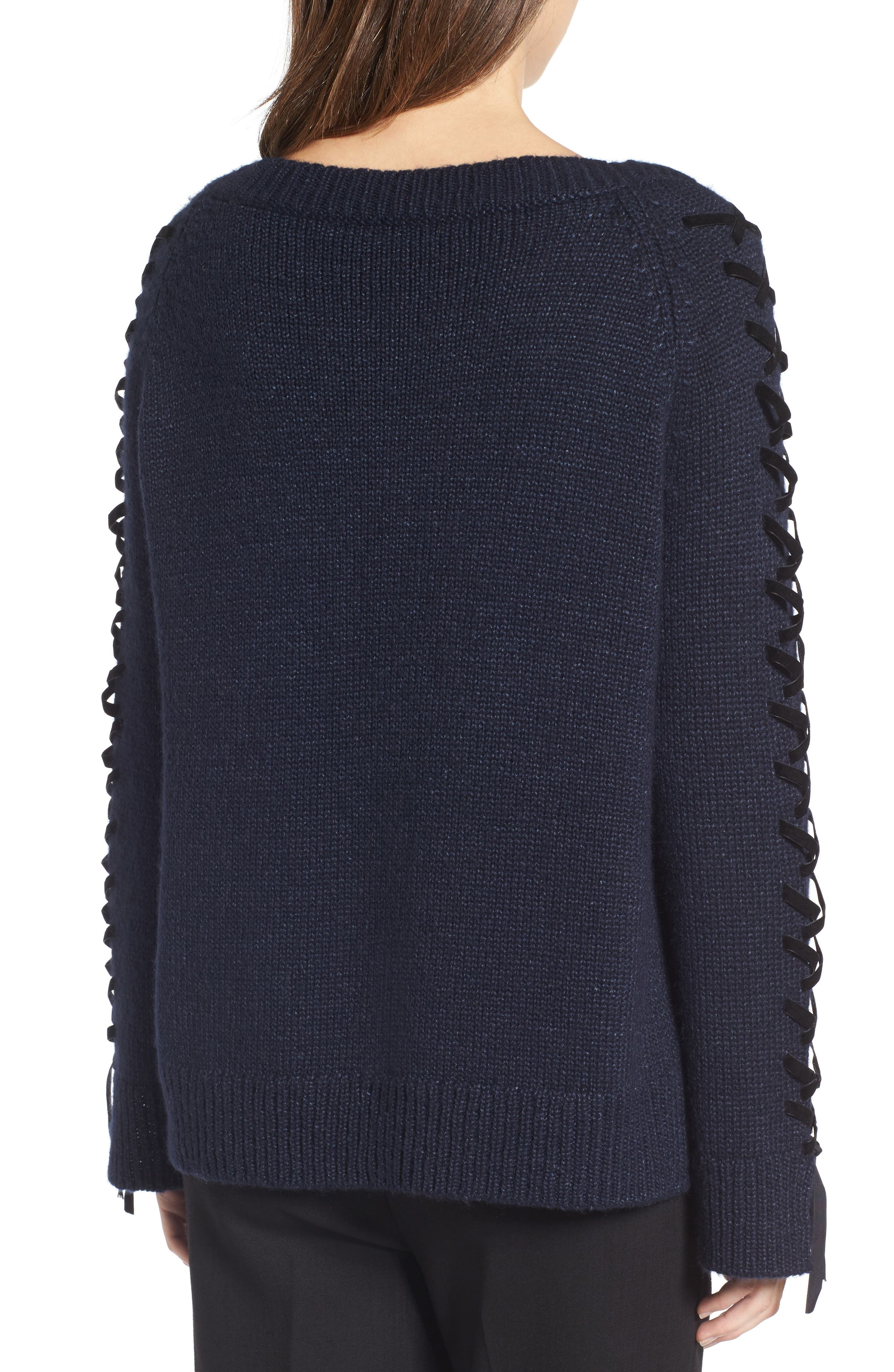 Laced Sleeve Pullover,                             Alternate thumbnail 3, color,                             Navy Night