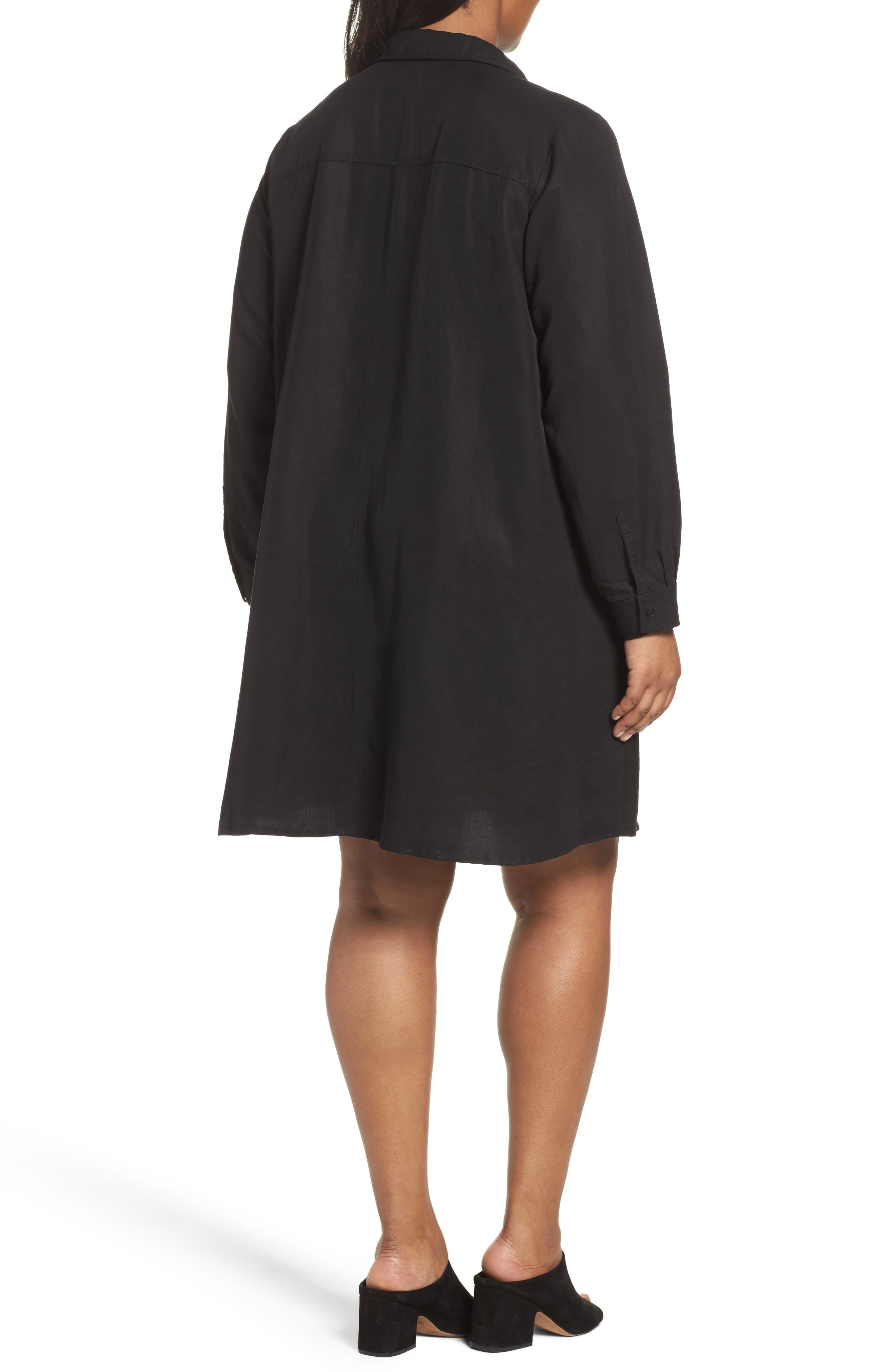 Alternate Image 2  - Eileen Fisher Classic Collar A-Line Shirtdress (Plus Size)