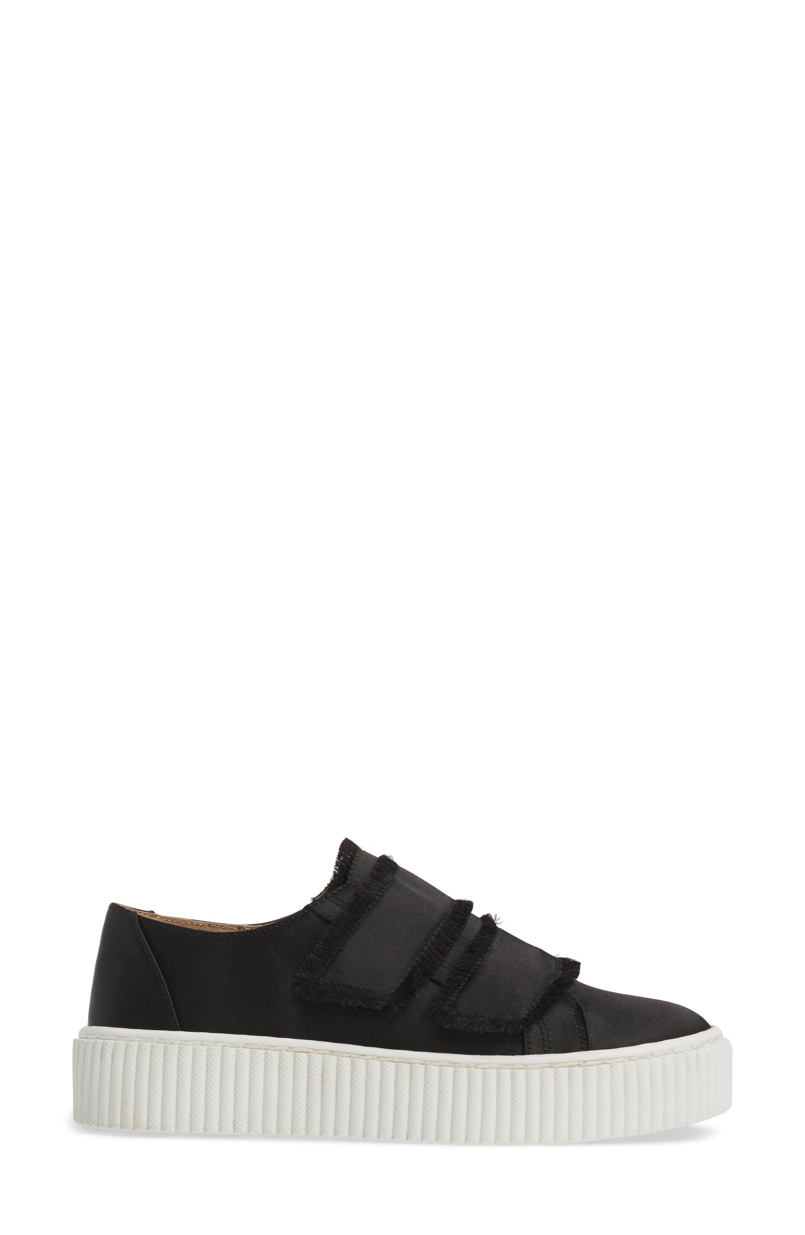 Elder Fringed Platform Sneaker,                             Alternate thumbnail 3, color,                             Black