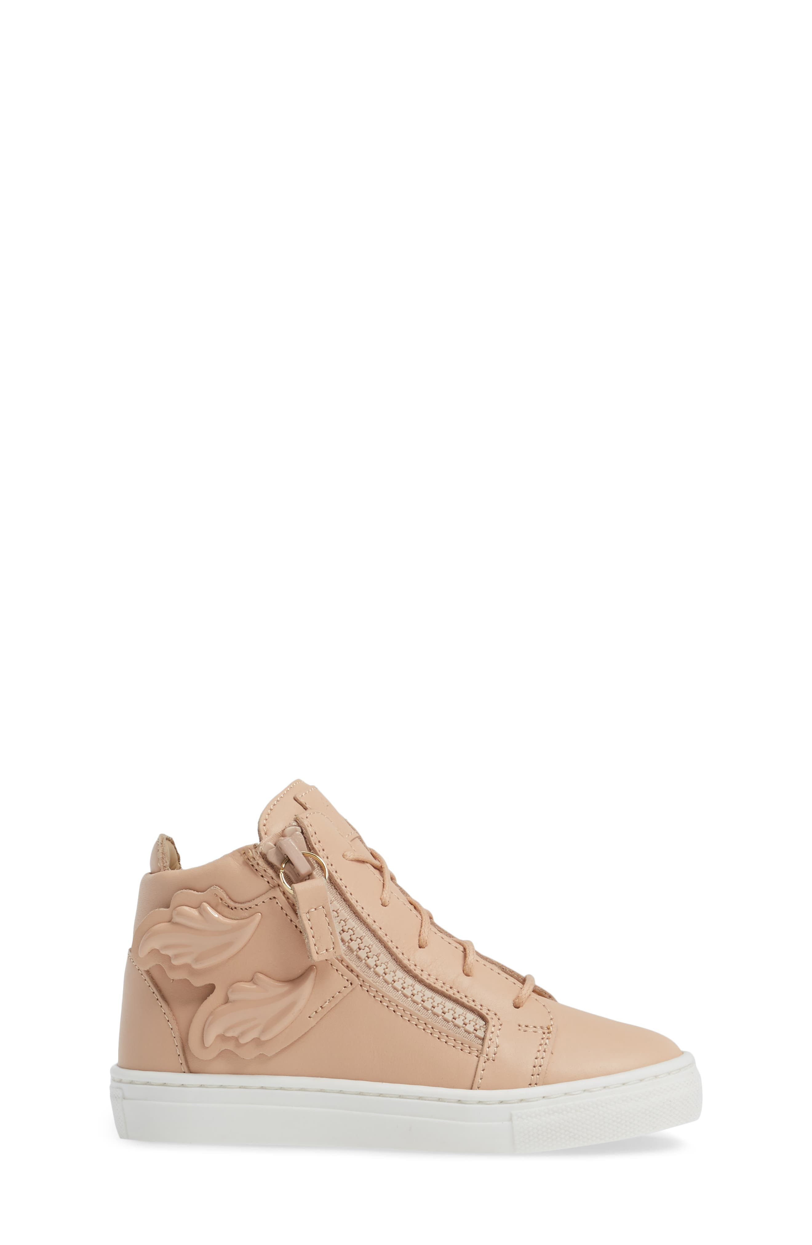 Foglia Embellished Zip Sneaker,                             Alternate thumbnail 3, color,                             Shell Leather