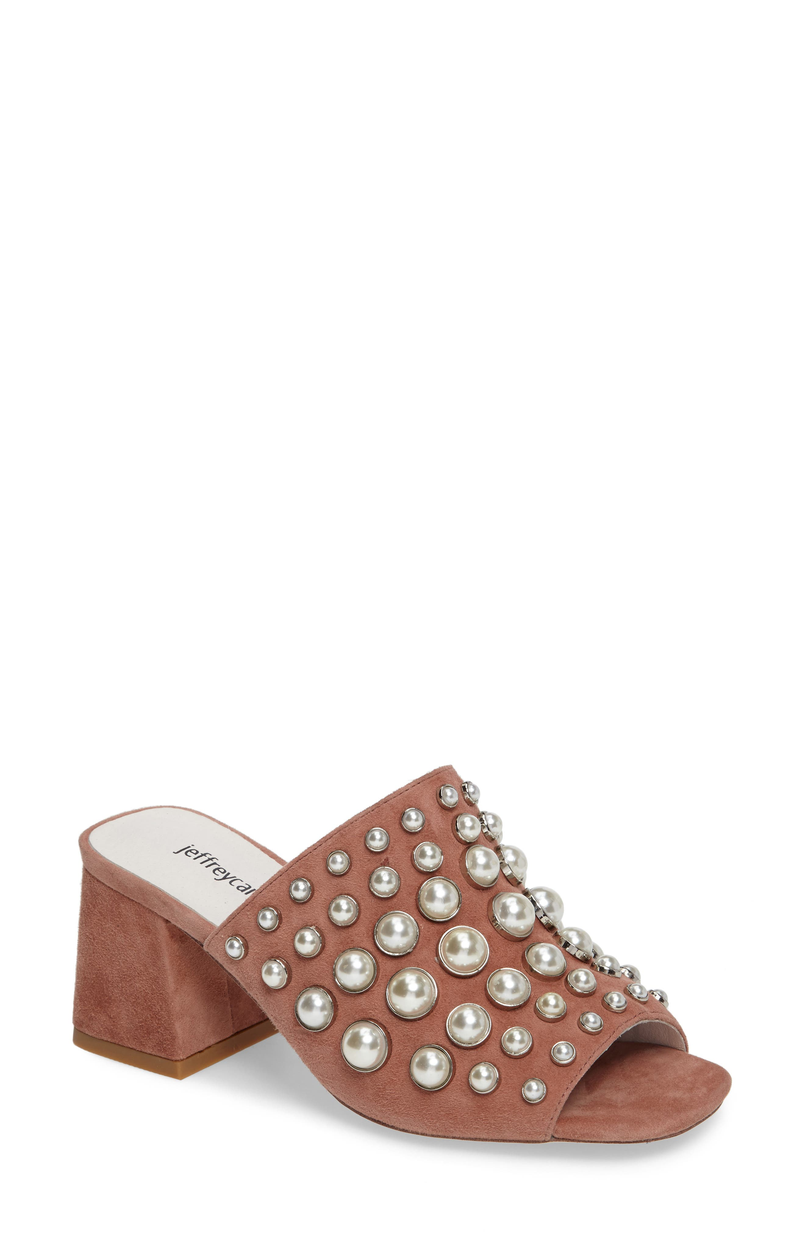 Perpetua Dome Stud Open-Toe Mule,                             Main thumbnail 1, color,                             Pink Suede Combo