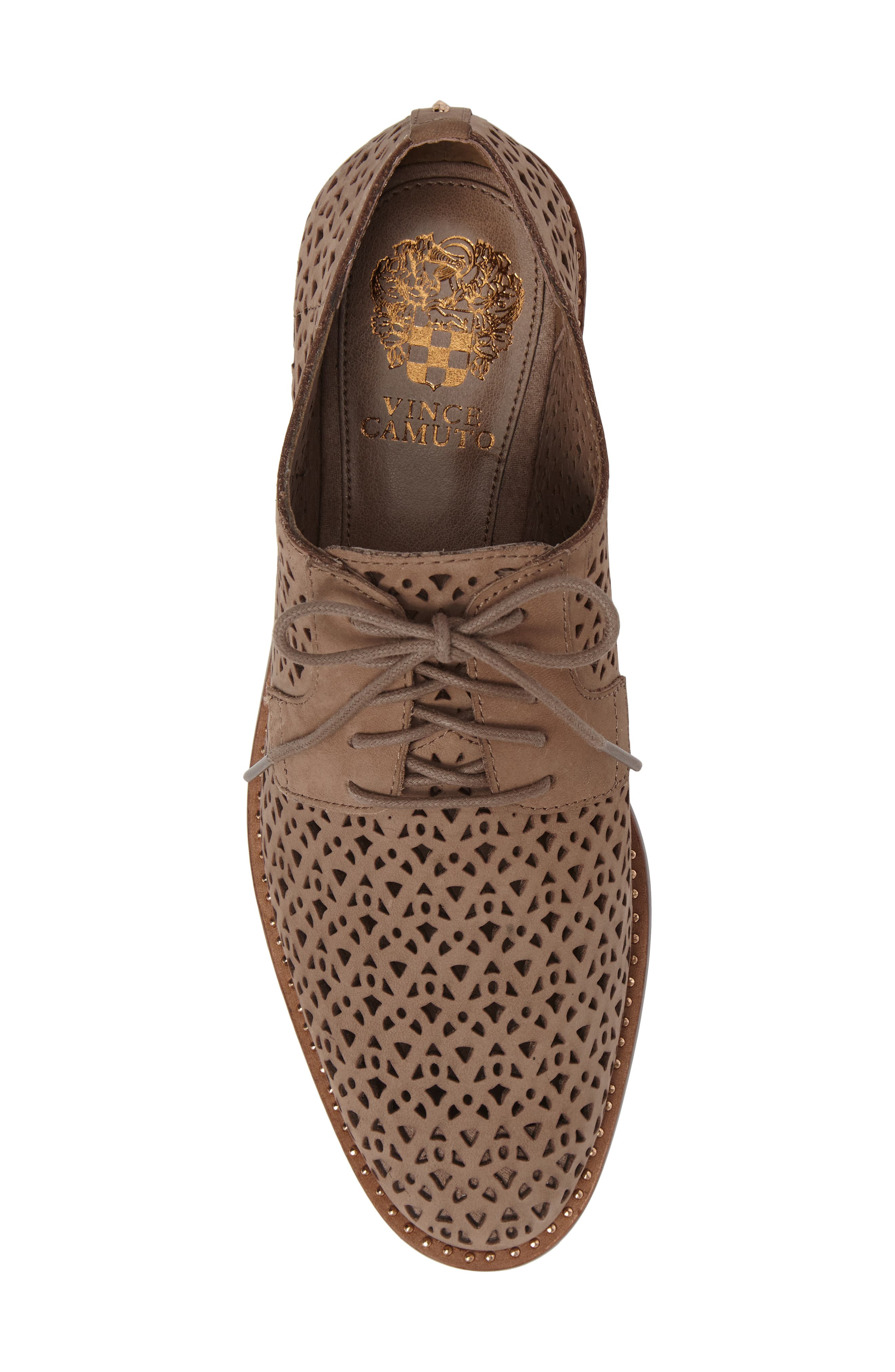 Lesta Geo Perforated Oxford,                             Alternate thumbnail 5, color,                             French Taupe Suede