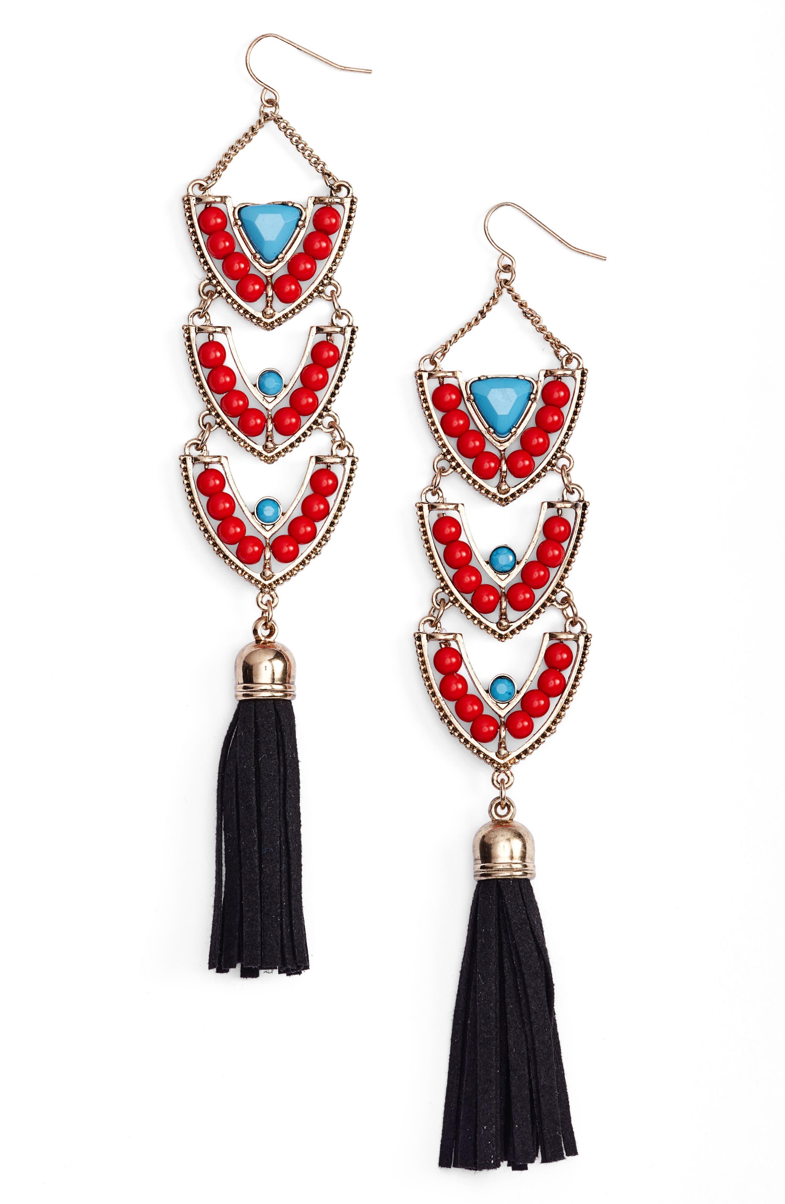 Stone & Tassel Drop Earrings,                         Main,                         color, Red