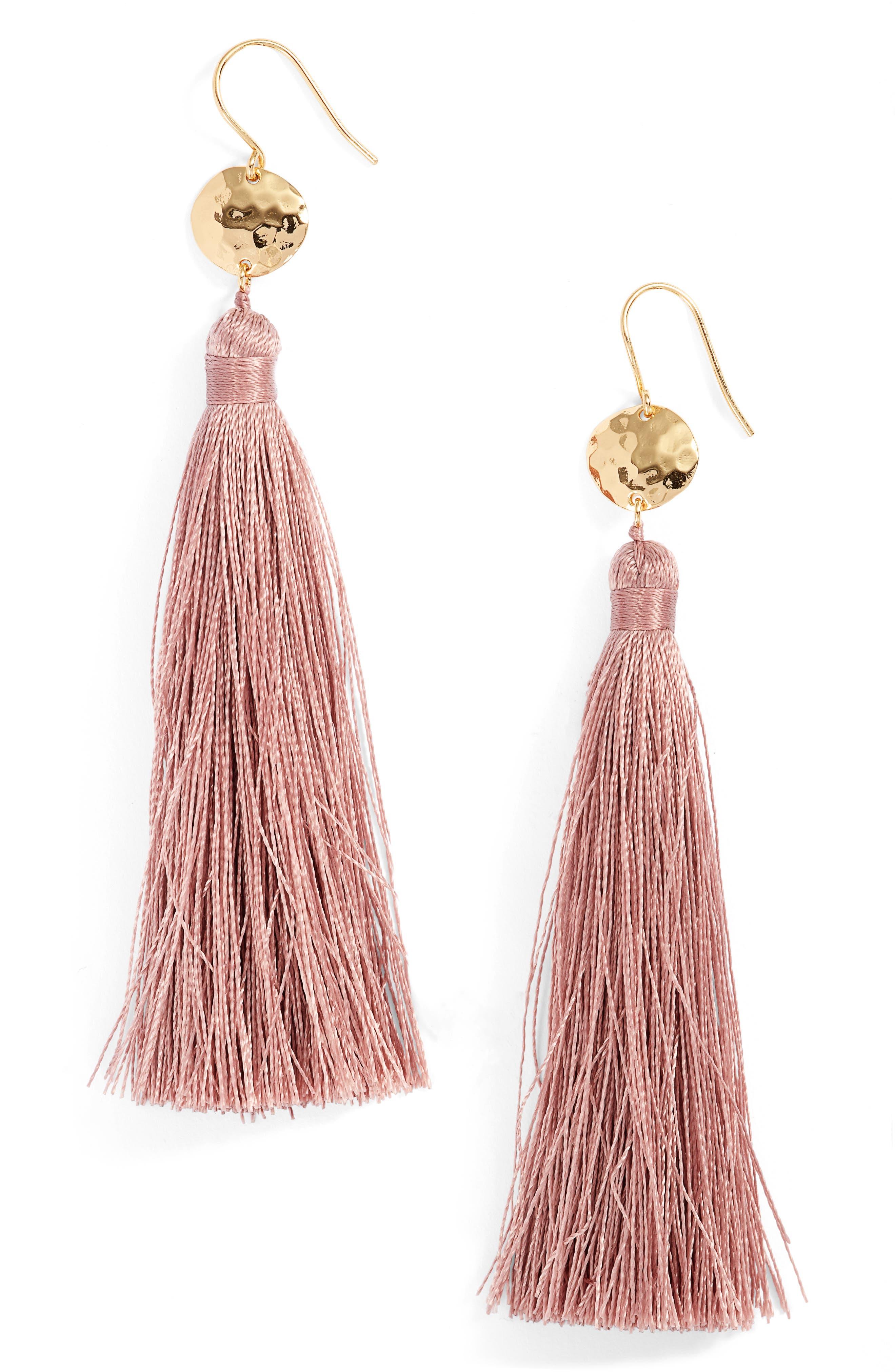Leucadia Tassel Drop Earrings,                         Main,                         color, Mauve / Gold