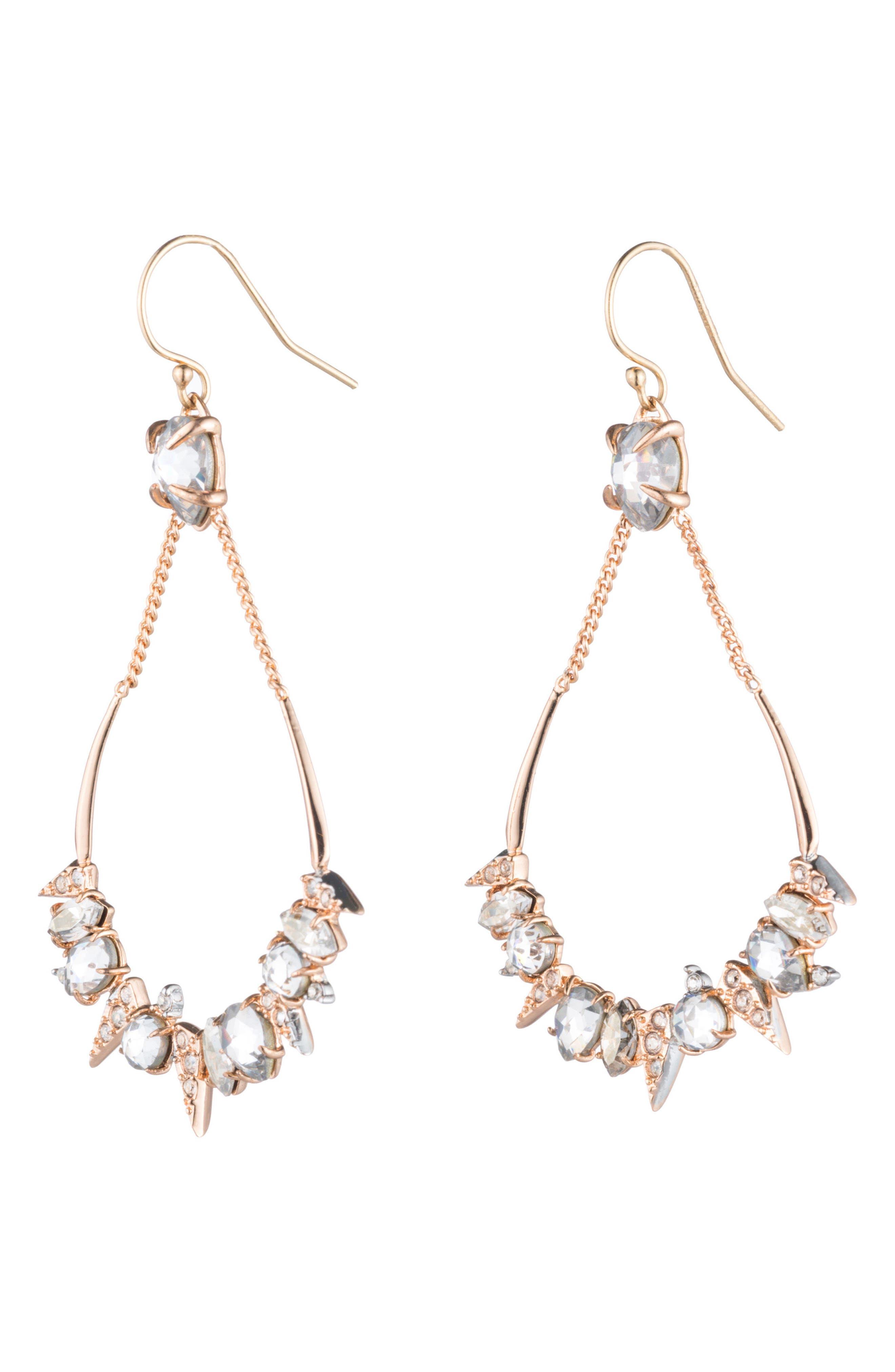 Crystal Encrusted Mosaic Drop Earrings,                             Main thumbnail 1, color,                             Rose Gold