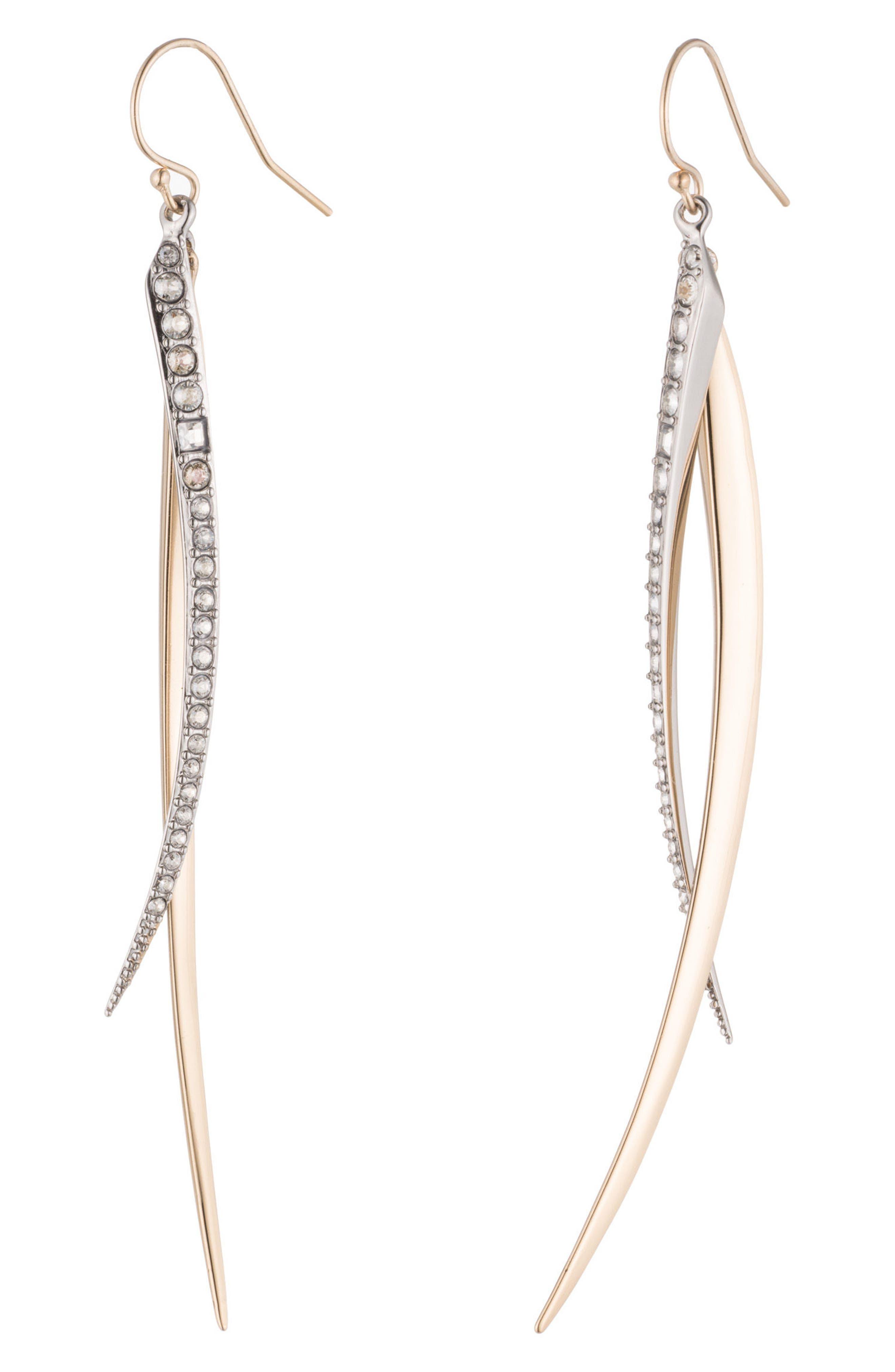 Two-Tone Crystal Drop Earrings,                             Main thumbnail 1, color,                             Gold