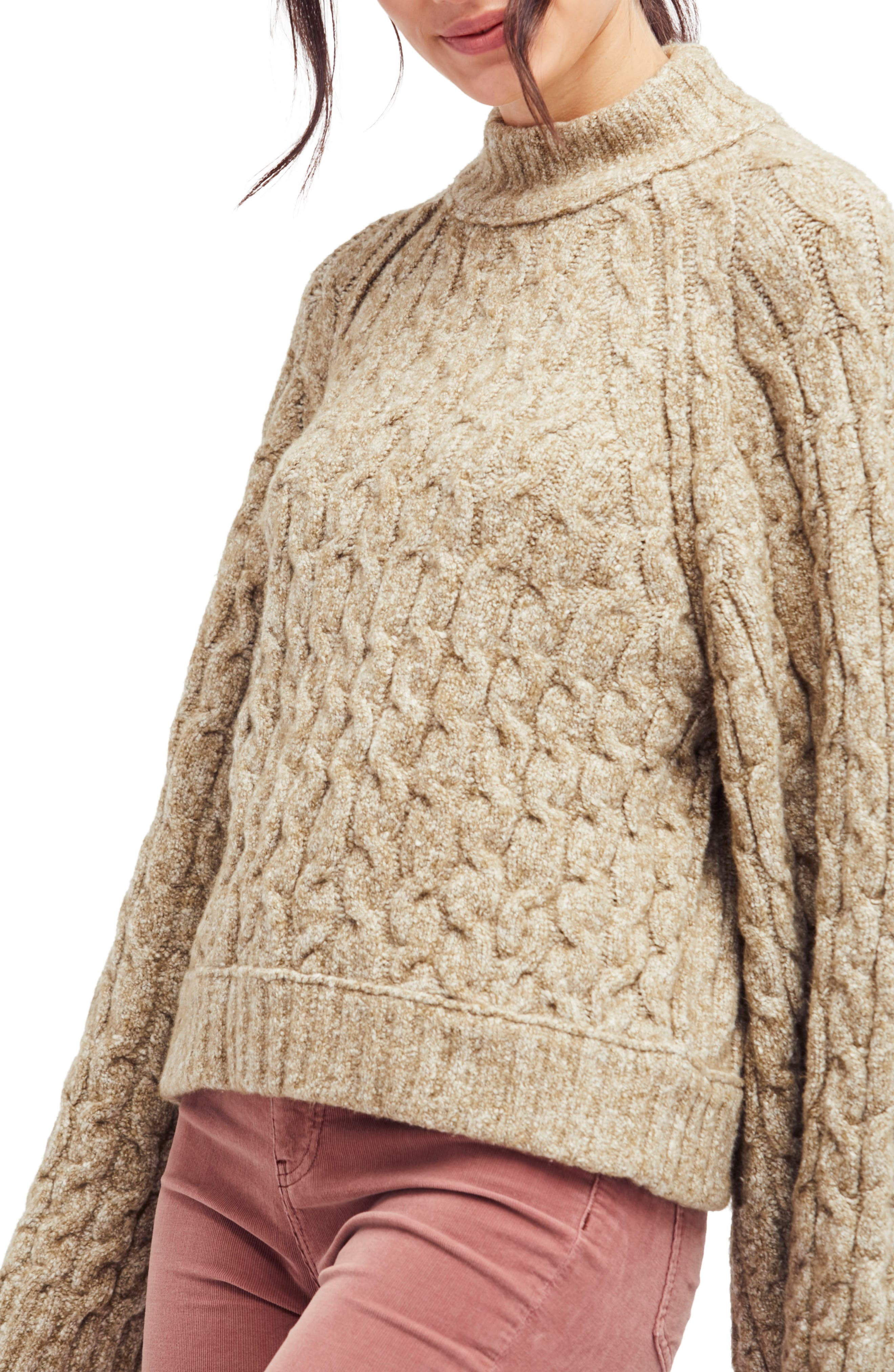 Free People Snow Bird Cable Knit Sweater