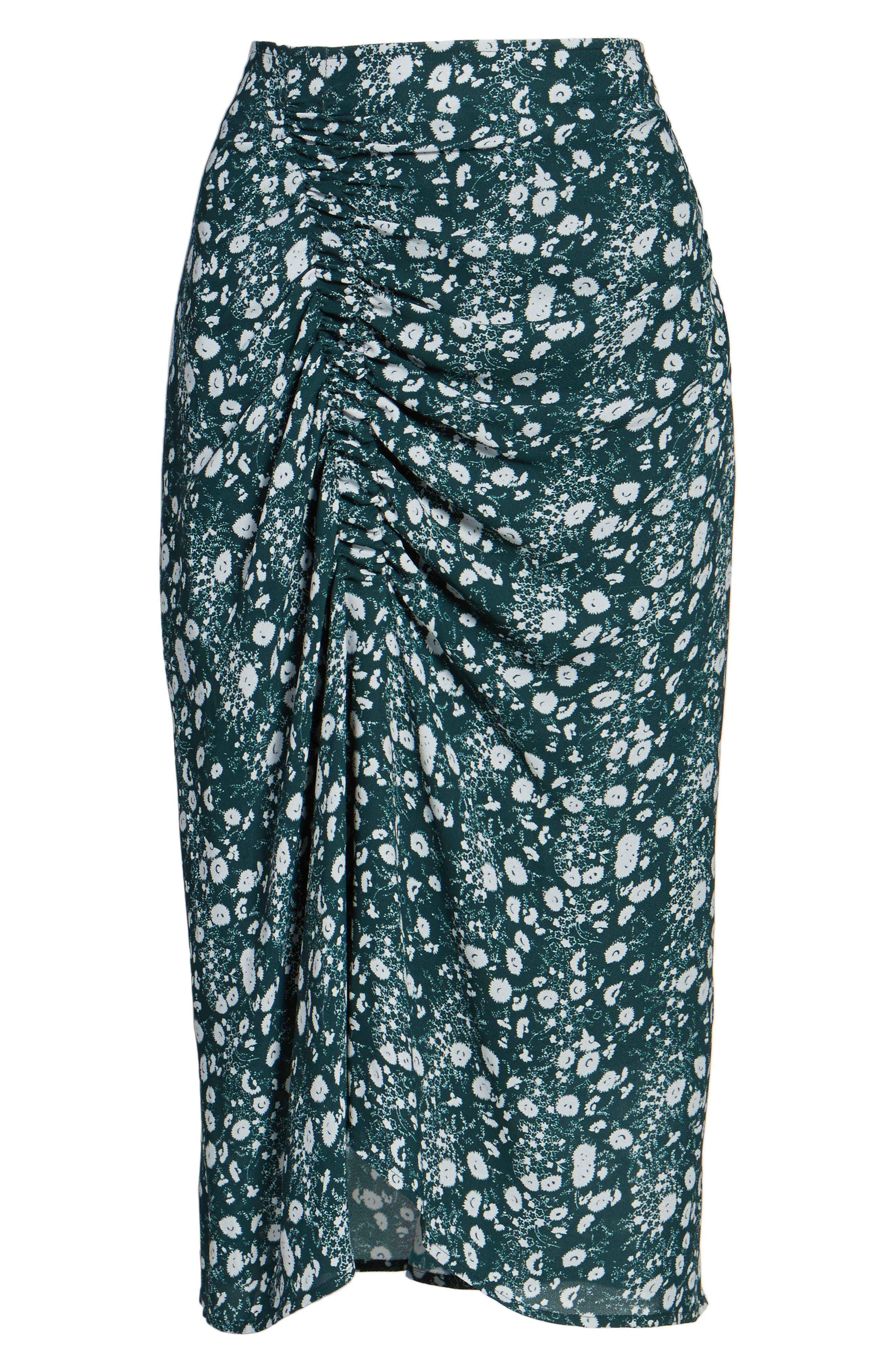 Print Skirt,                             Alternate thumbnail 6, color,                             Green Clara Floral Print