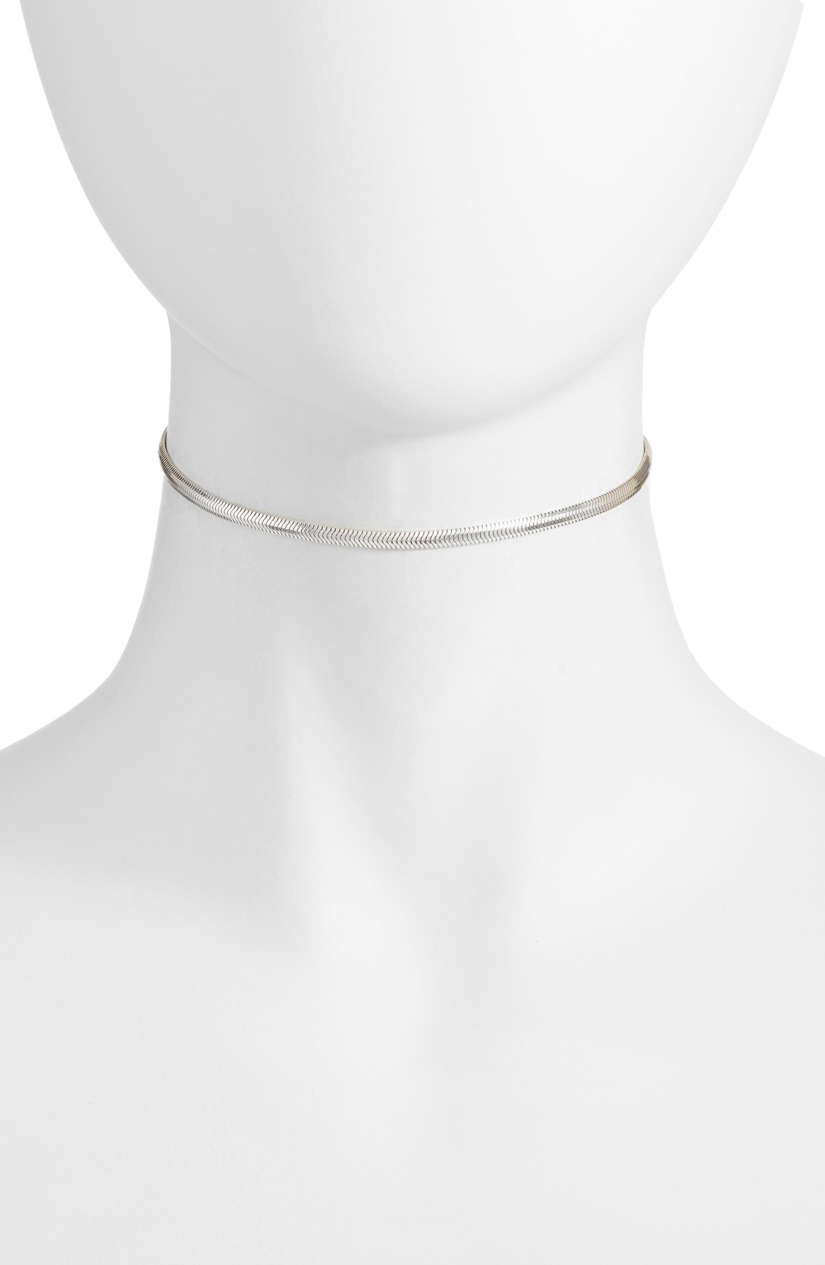 Snake Chain Choker,                         Main,                         color, Silver