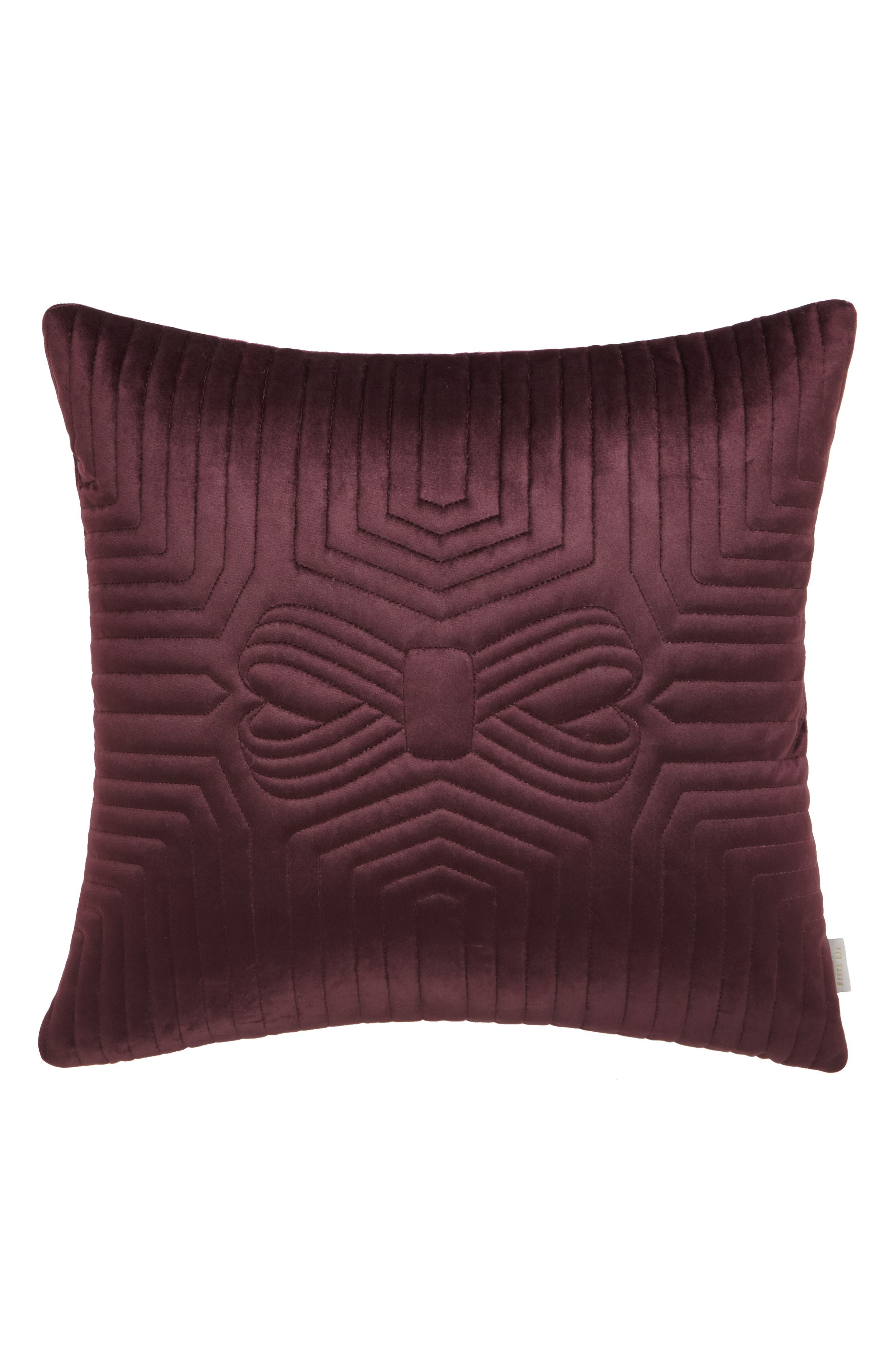 Quilted Velvet Accent Pillow,                         Main,                         color, Wine