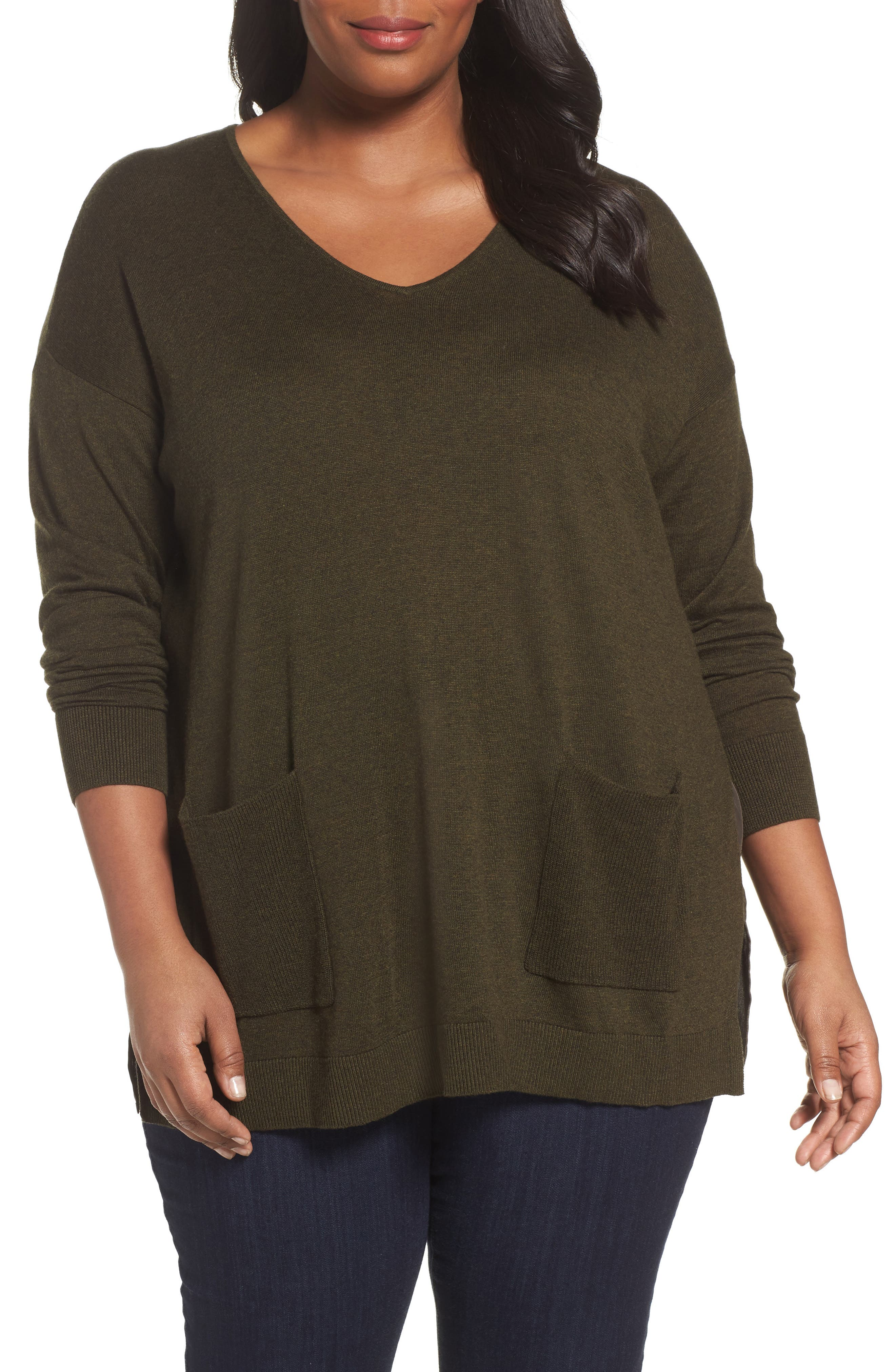 Sejour Mixed Media Pullover (Plus Size)