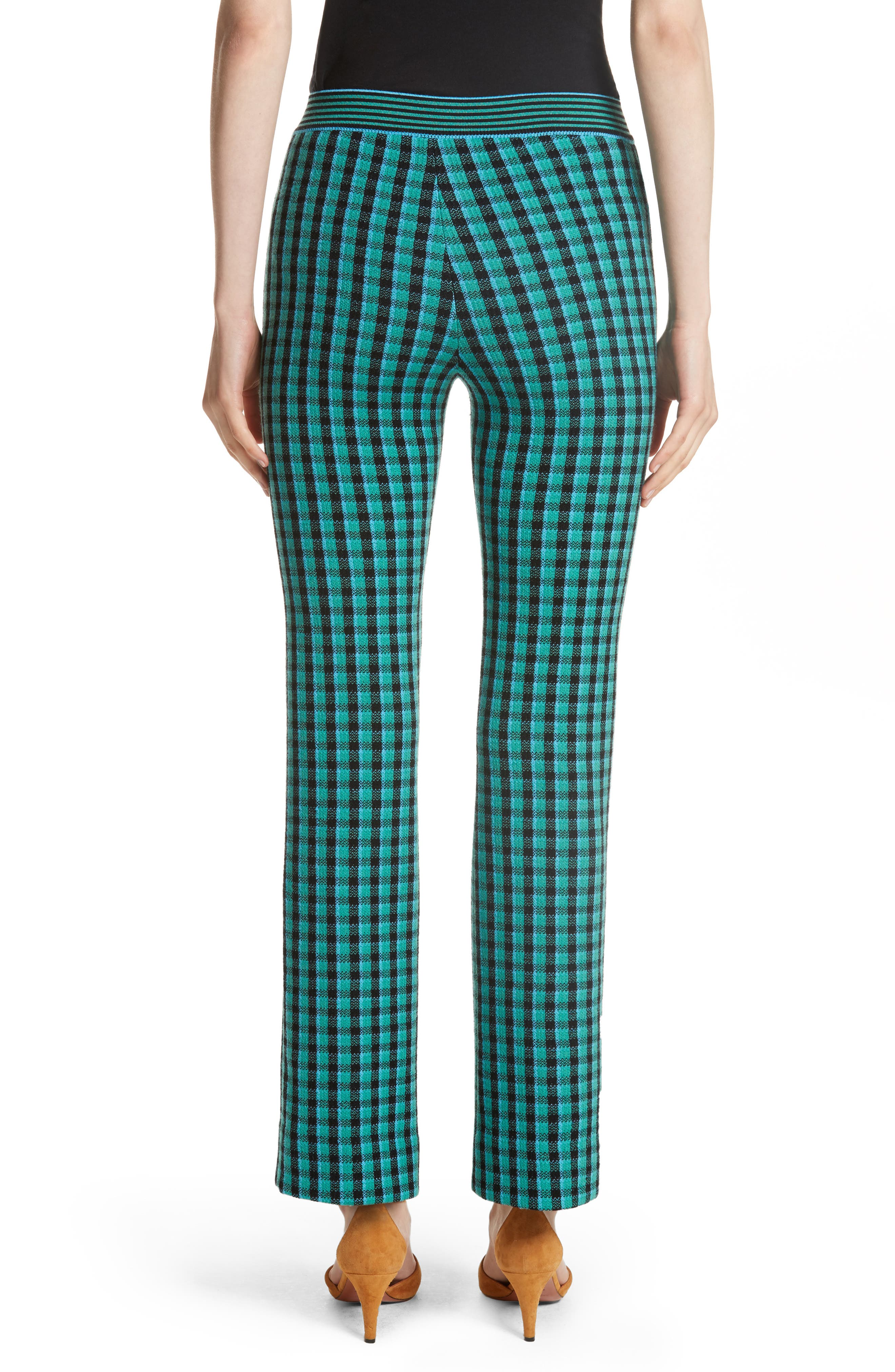 Plaid Stretch Wool Knit Pants,                             Alternate thumbnail 2, color,                             Green/ Blue