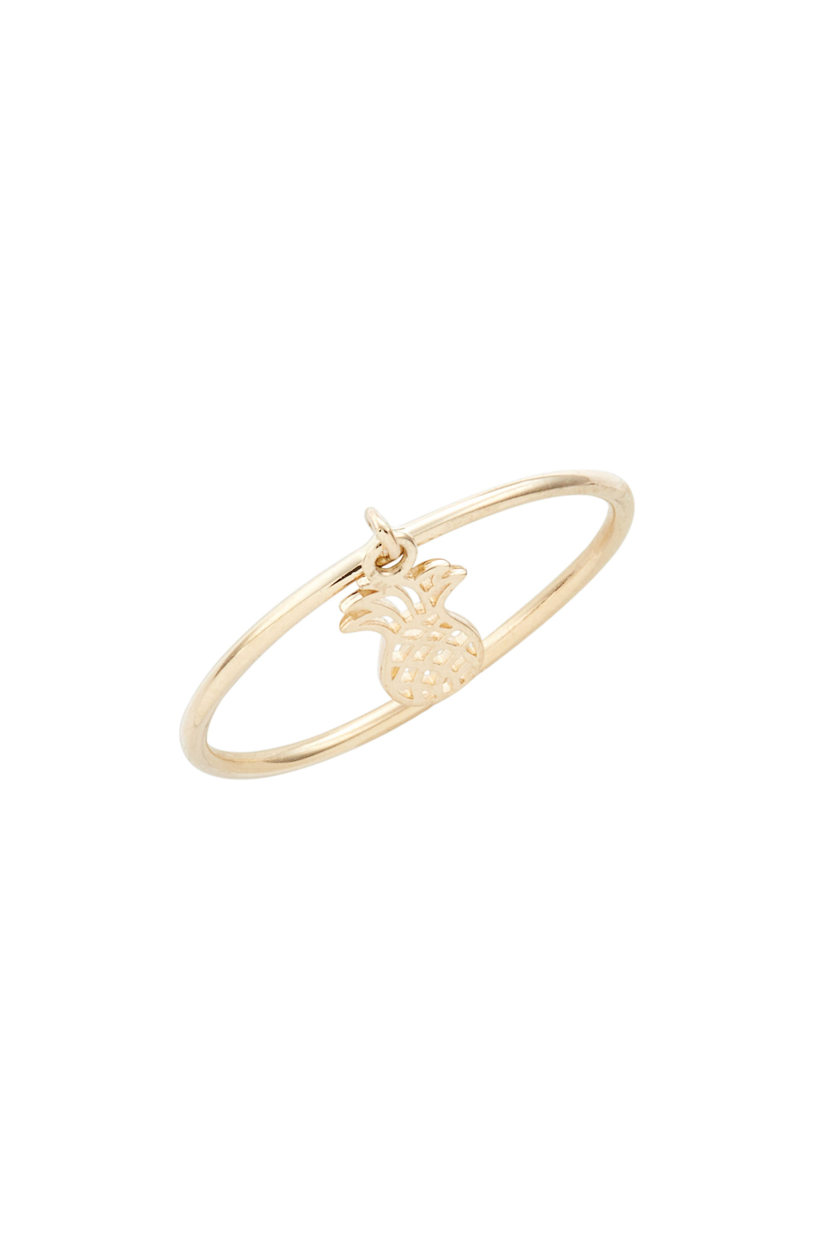Skinny Dangling Pineapple Charm Ring,                         Main,                         color, Yellow Gold